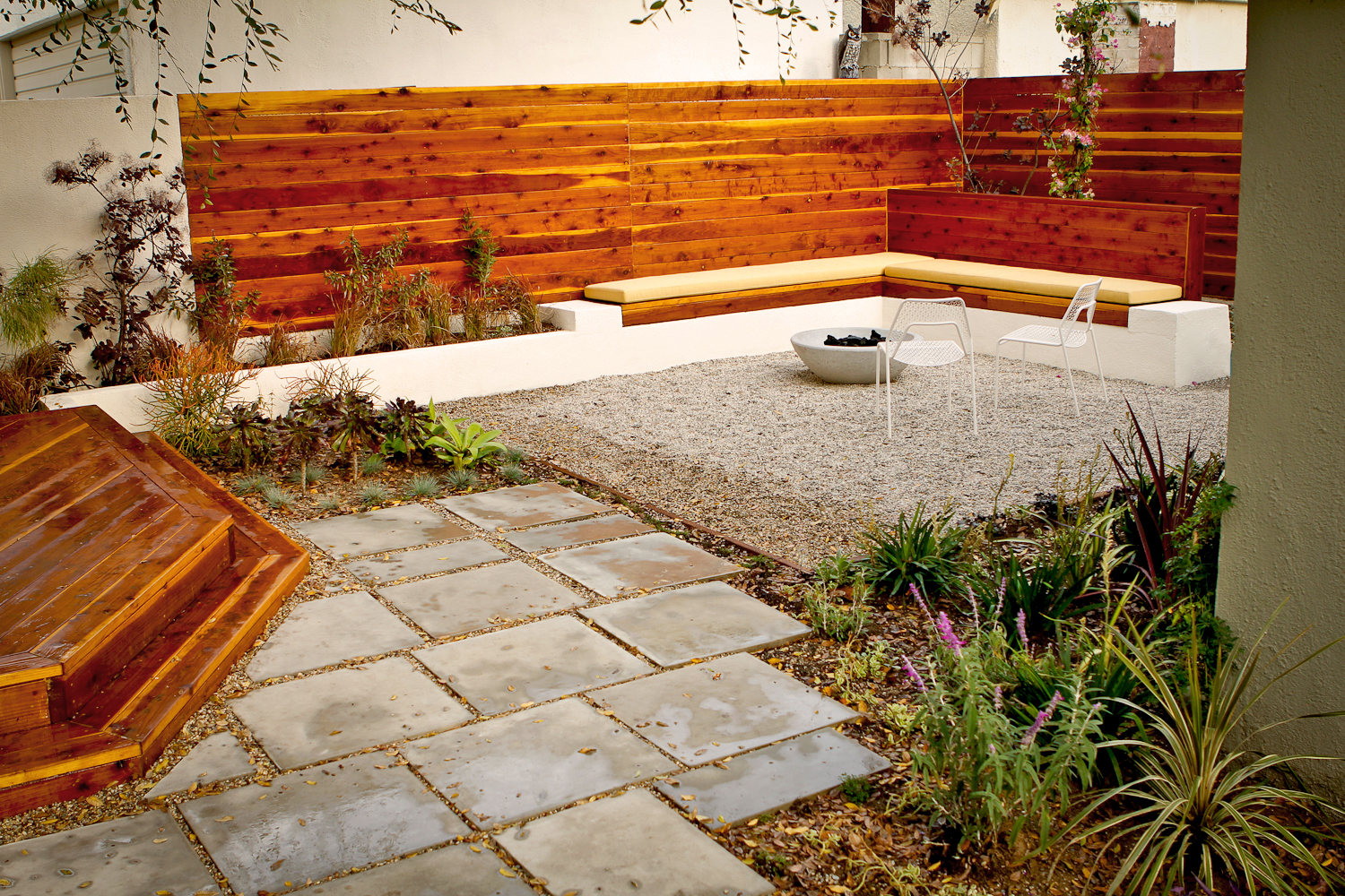 After | Back Yard Fire Pit With Pocket Gardens