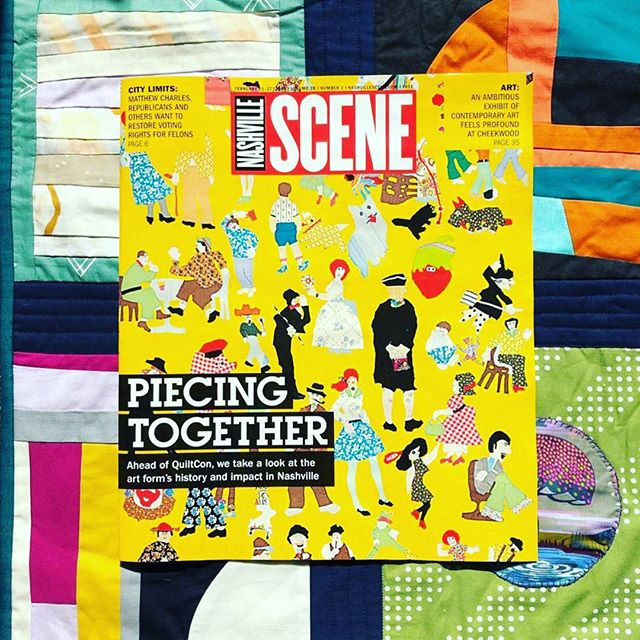Hey, guess what?? I am: A.) SO EXCITED about the badass @nashvillescene feature on quilting and B.) exceptionally honored that my interview with the inimitable @laurahutsonhunter is included, and C.) particularly thrilled because I've just picked up my brushes again after a long rest and damn if it doesn't feel fantastic. Everything is a work in progress, y'all. WAHOO!!! Who's coming to #quiltcon2019 ?? 💅🏻😎🔥🔺 @hautechicken . . . . #nashville #nashvilleart #nashvilleartist #artistoninstagram #instaart #art #studioview #original #paint #painter #painting #gallery #progress #canvas #quilt #studio #wip