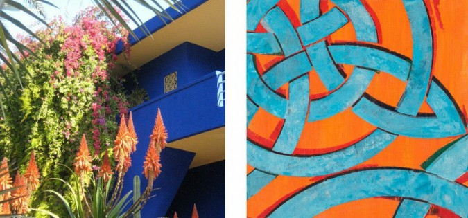 Left: Photo of Les Jardins Majorelles in Marrakech, Right: Daydream Believer, oil and acrylic on panel, 12 x 12″