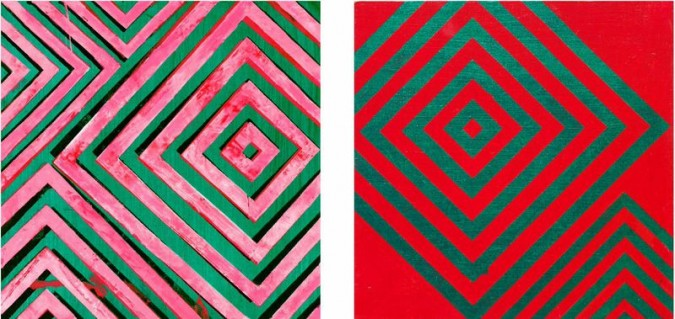 Left: Hot, Slippery, acrylic on panel, 12 x 12″ 2012; Right: All City, acrylic on panel, 12 x 12″ 2012 , Collection of Nawal Slaoui, Casablanca