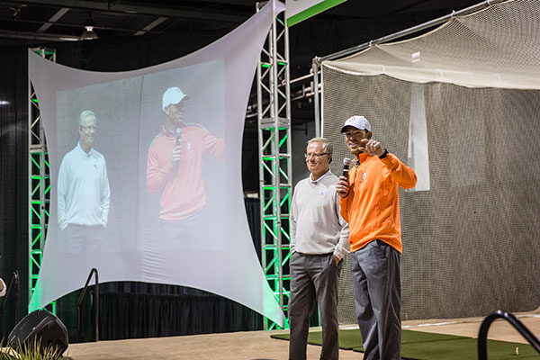 Robbie Gould (right), All Pro Kicker, with Mark Rolfing (left)