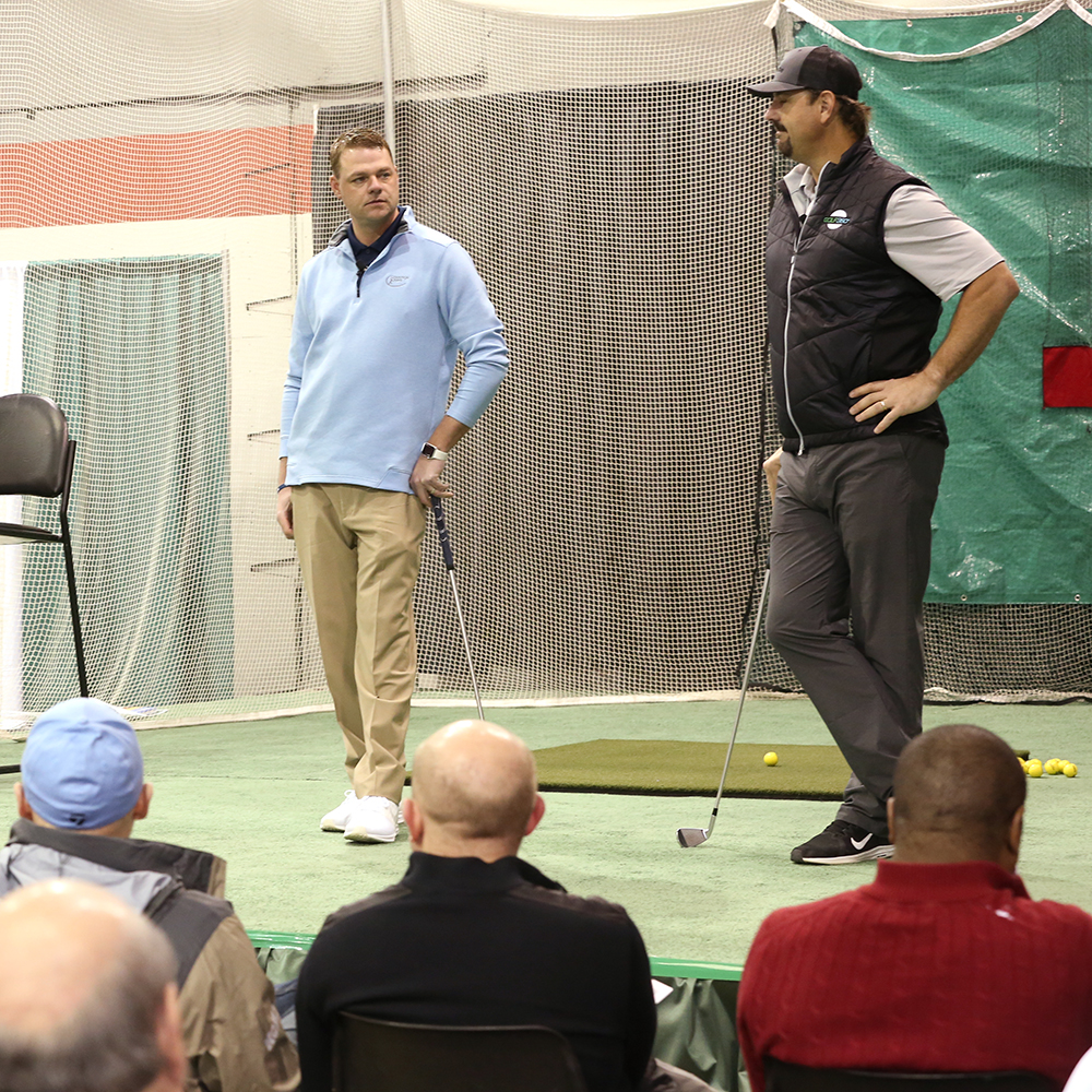 Former Chicago Bears player Patrick Mannelly learned some new tricks from IPGA Pro Kiel Alderink