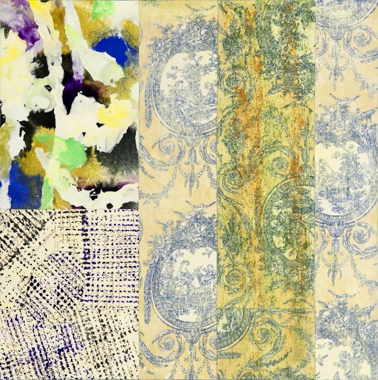 """Tropea  Jerrold Burchman BU260 Mixed Media Collage on Panel 24"""" x 24"""""""