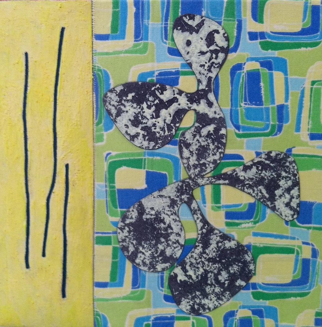 "Primavera  Jerrold Burchman BU265 Mixed Media Collage on Panel 12"" x 12"""
