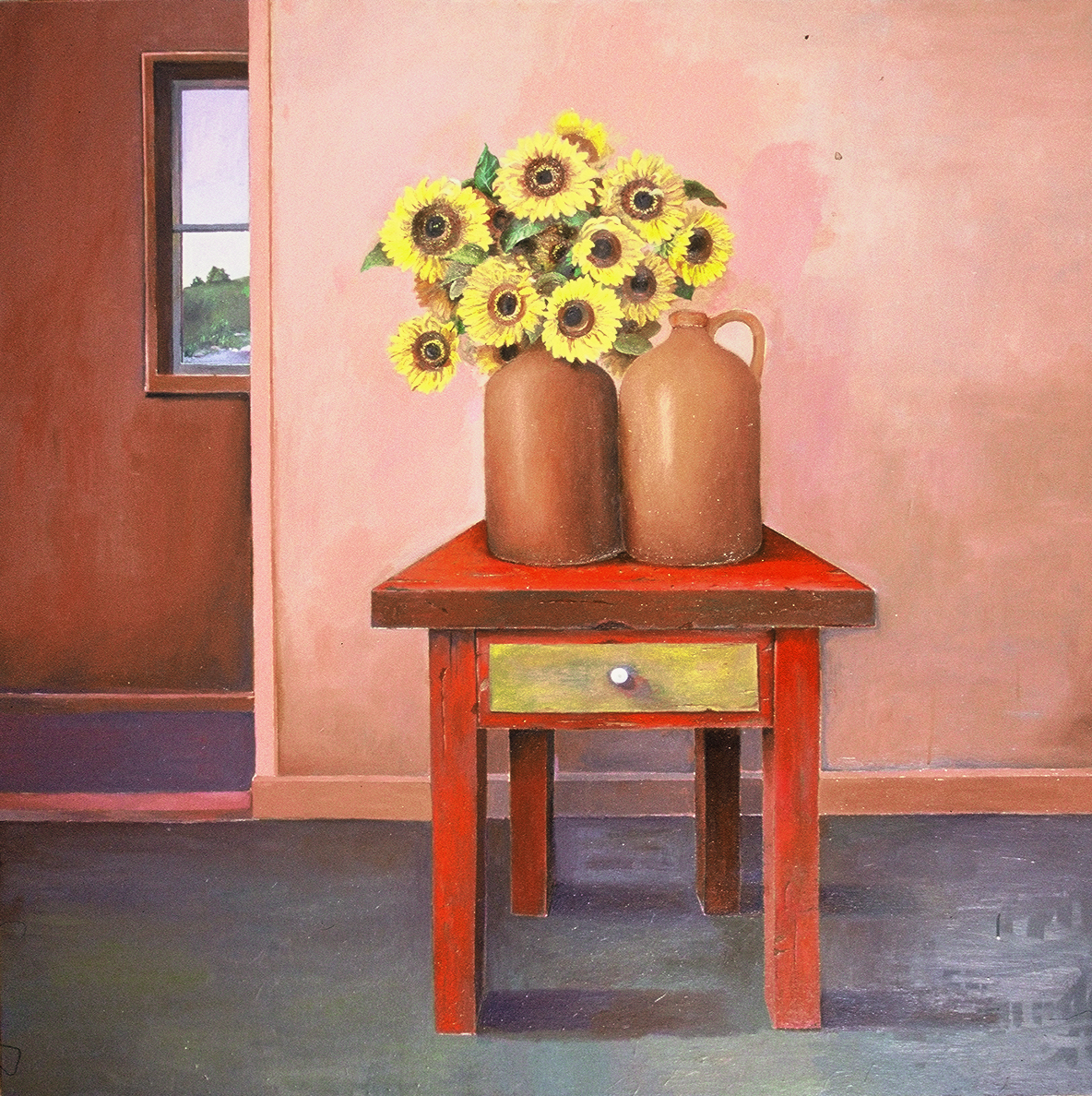 """The Sunflowers  Muriel Kalish MK137 Oil on Canvas 48"""" x 48"""""""