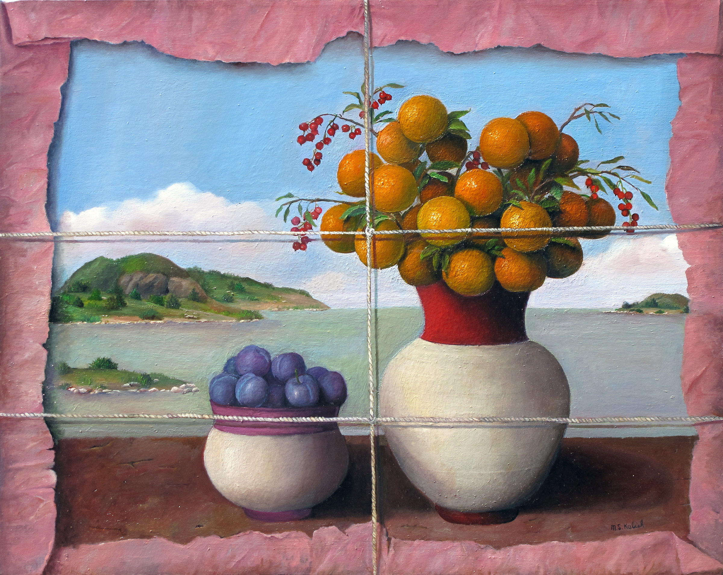 """Oranges and Plumbs in Tissue  Muriel Kalish MK148 Oil on Canvas 24"""" x 30"""""""