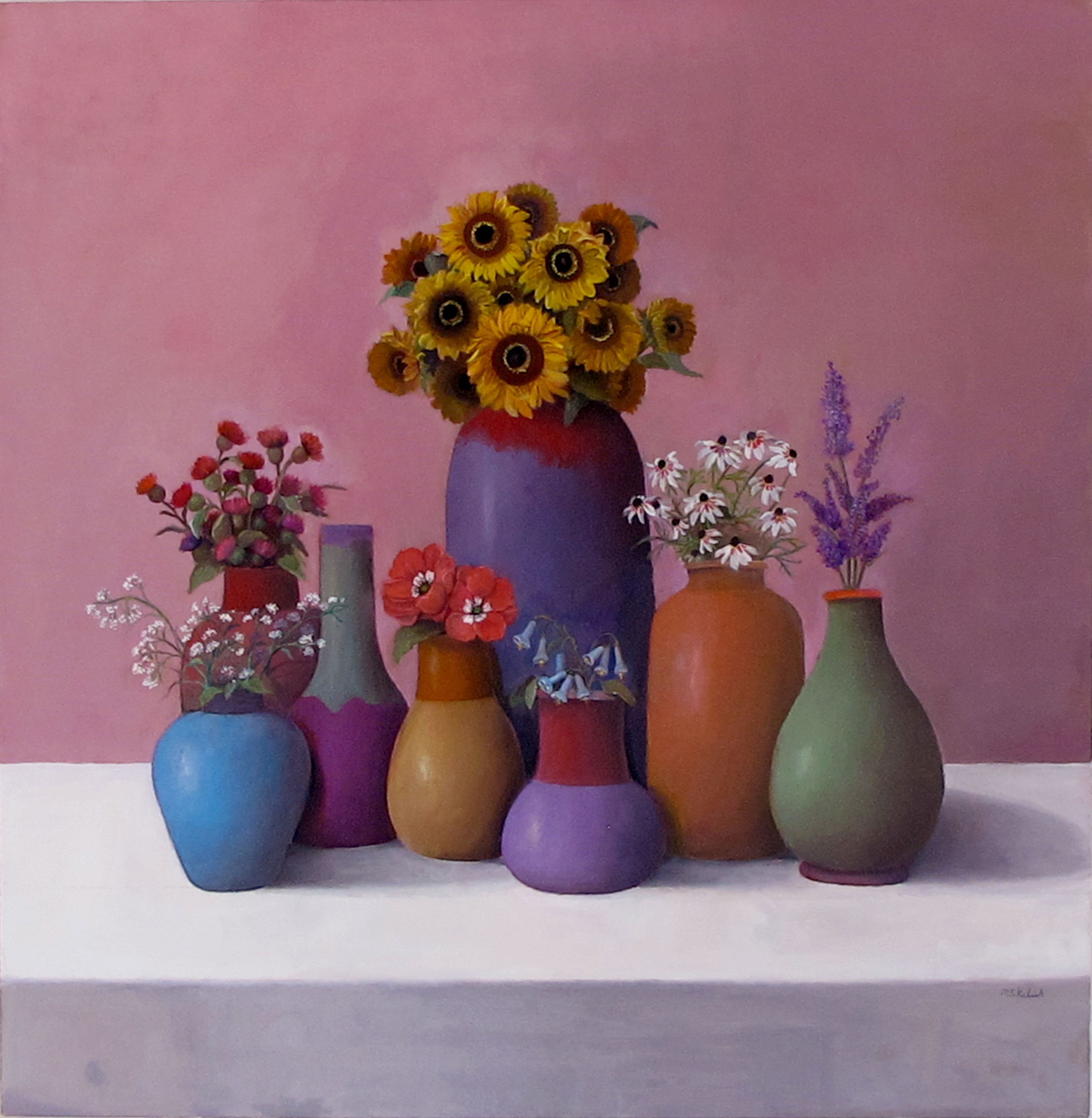 """Sandy Painting #1  Muriel Kalish MK150 Oil on Canvas 36"""" x 36"""""""
