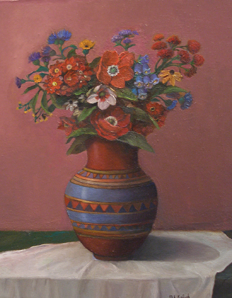 """Bouquet in Red and Blue Vase  Muriel Kalish MK141 Oil on Canvas 20"""" x 16"""""""
