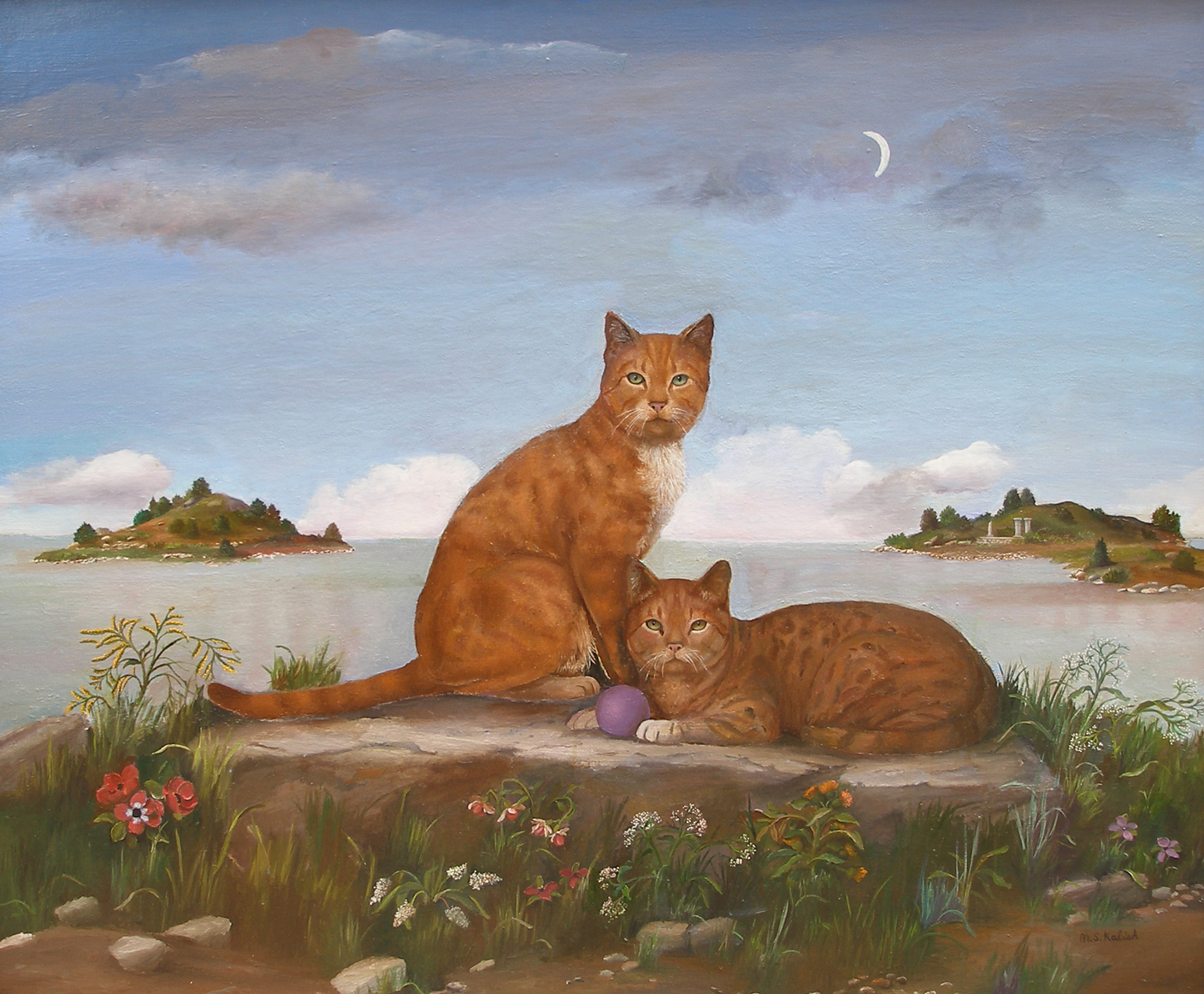 """Cats at Water's Edge  Muriel Kalish MK143 Oil on Canvas 38"""" x 46"""""""