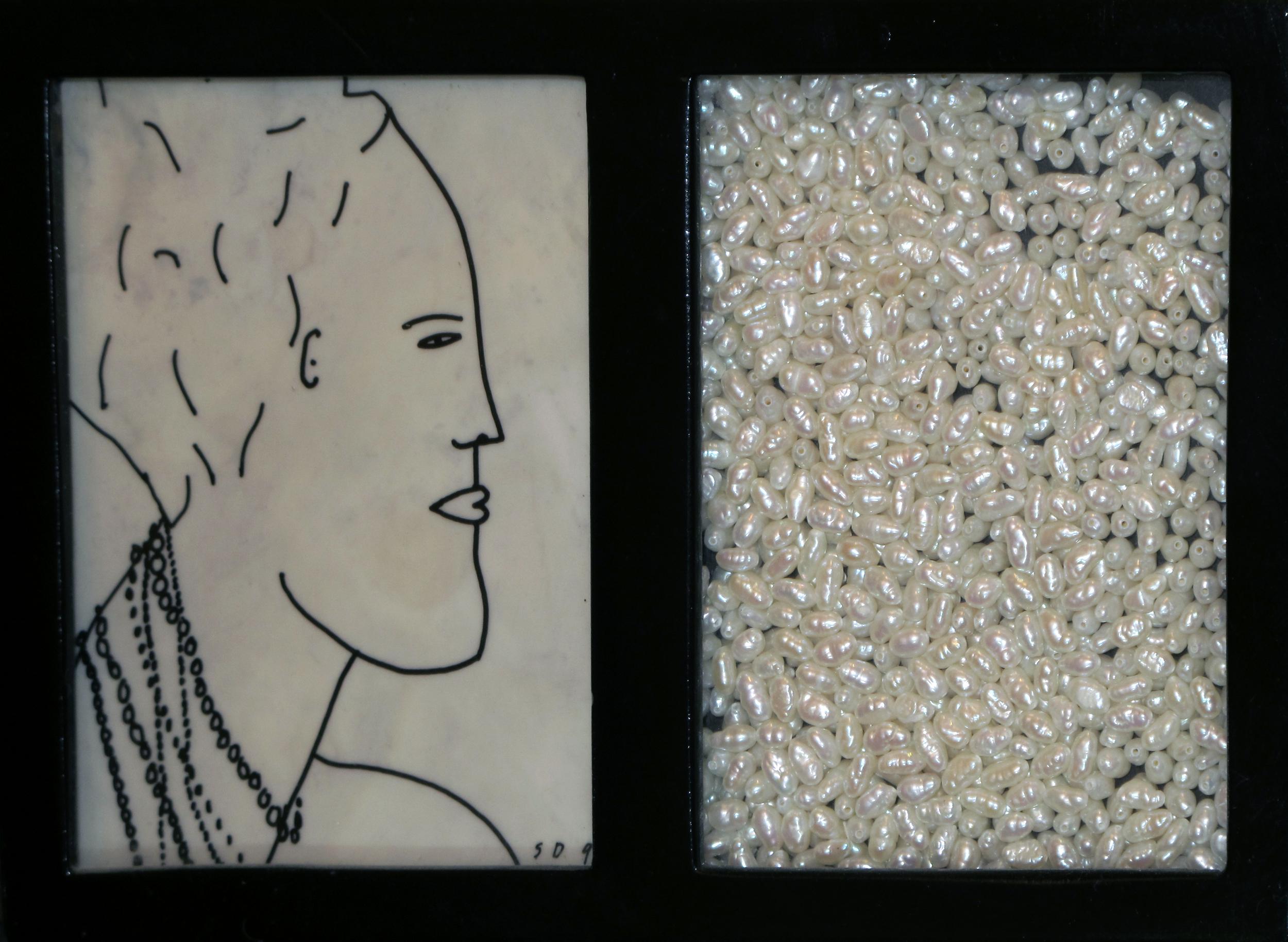 "Pearls  Stephen Daly SD109 Ink on Mylar, Fresh Water Pearls, Enamel on Steel 8"" x 6"" x 1"""