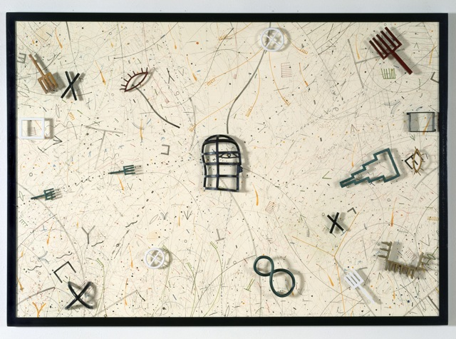 """Man in the Middle   Stephen Daly SD123 Ink and Water Color on Paper, Dye on Cast Aluminum 50"""" x 70"""" x 5"""""""
