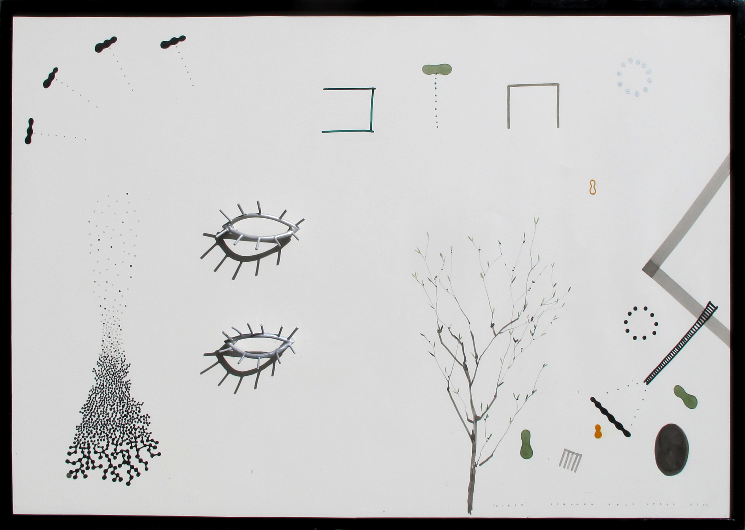 """Field  Stephen Daly SD125 Ink and Water Color on Paper, Dye on Cast Aluminum, Enamel on Steel 30"""" x 43.5"""" x 4"""""""