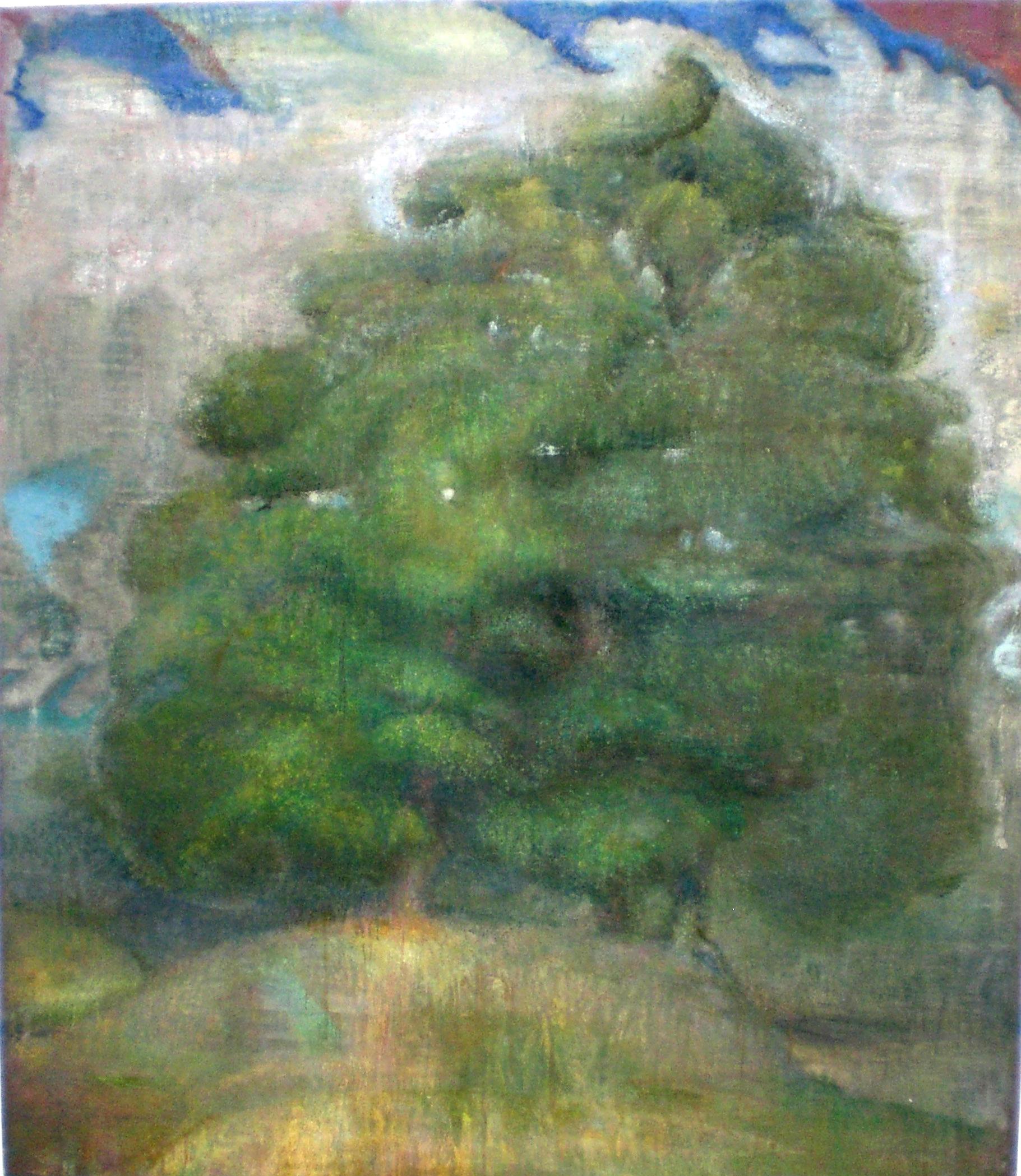 "Tree of Three  Eric Holzman HZ107 Oil, sand, powdered chalk on canvas 77"" x 66"""