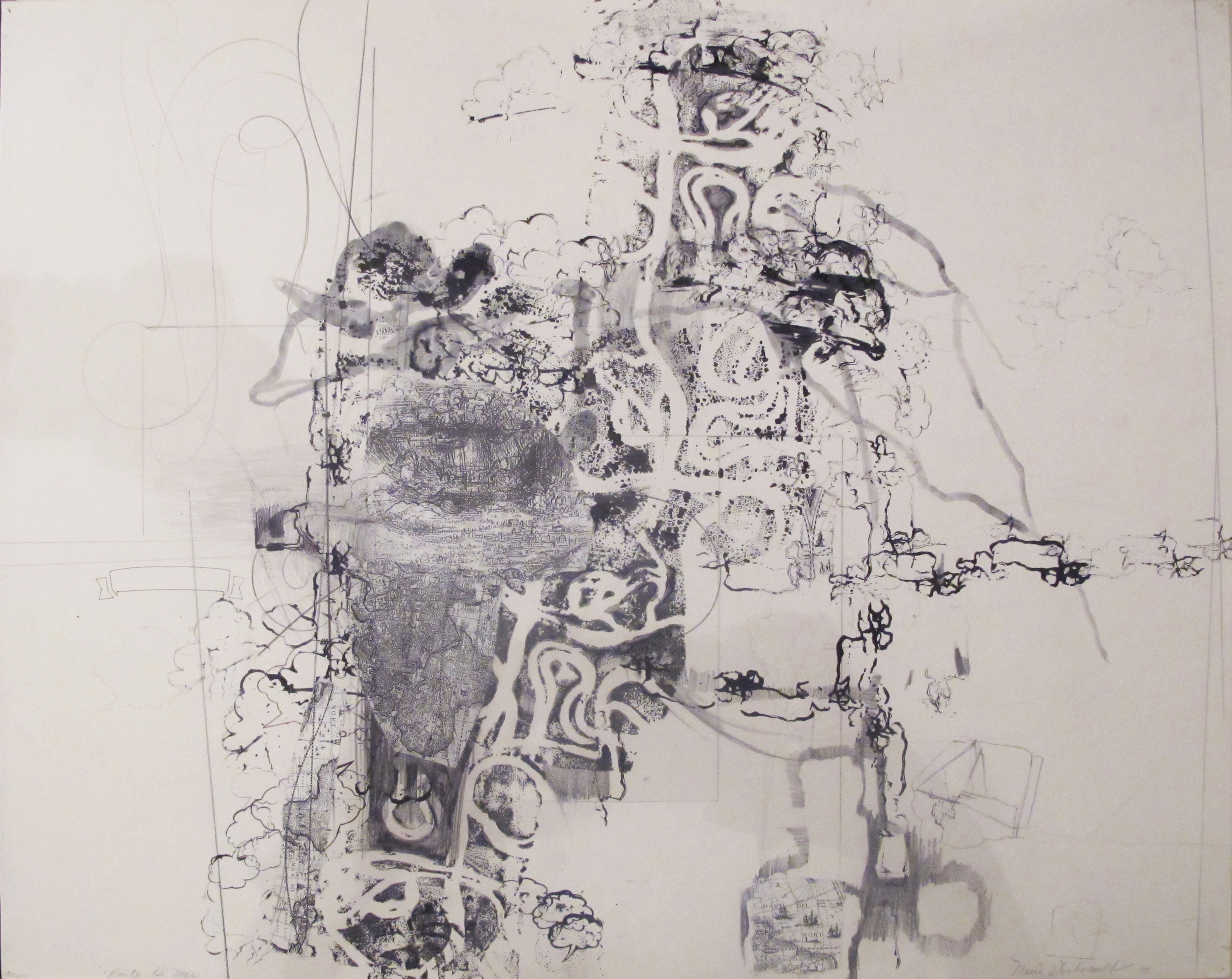 """Route Di Mar  Marie Thibeault LT106 Mixed Media on Paper 30"""" x 40"""""""