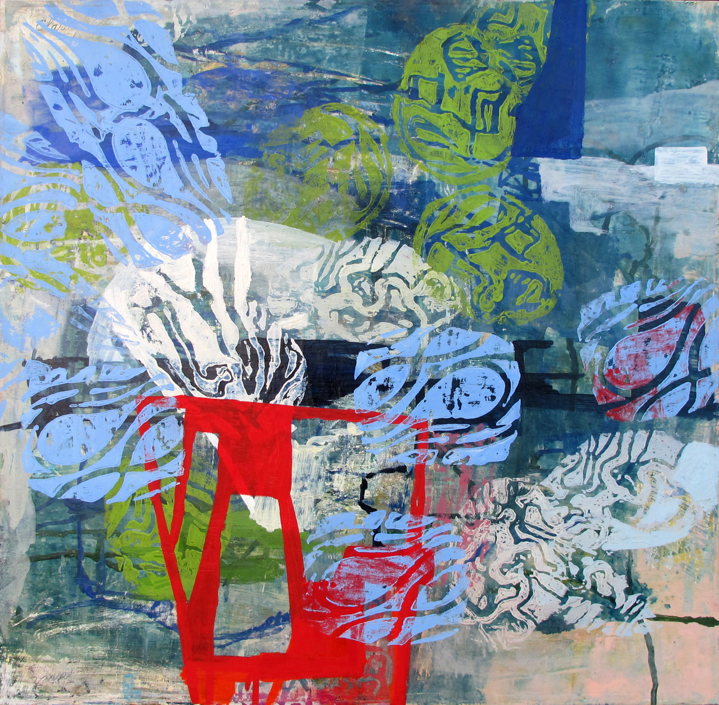 """White Water  Marie Thibeault LT120 Acrylic on Canvas 36"""" x 36"""""""