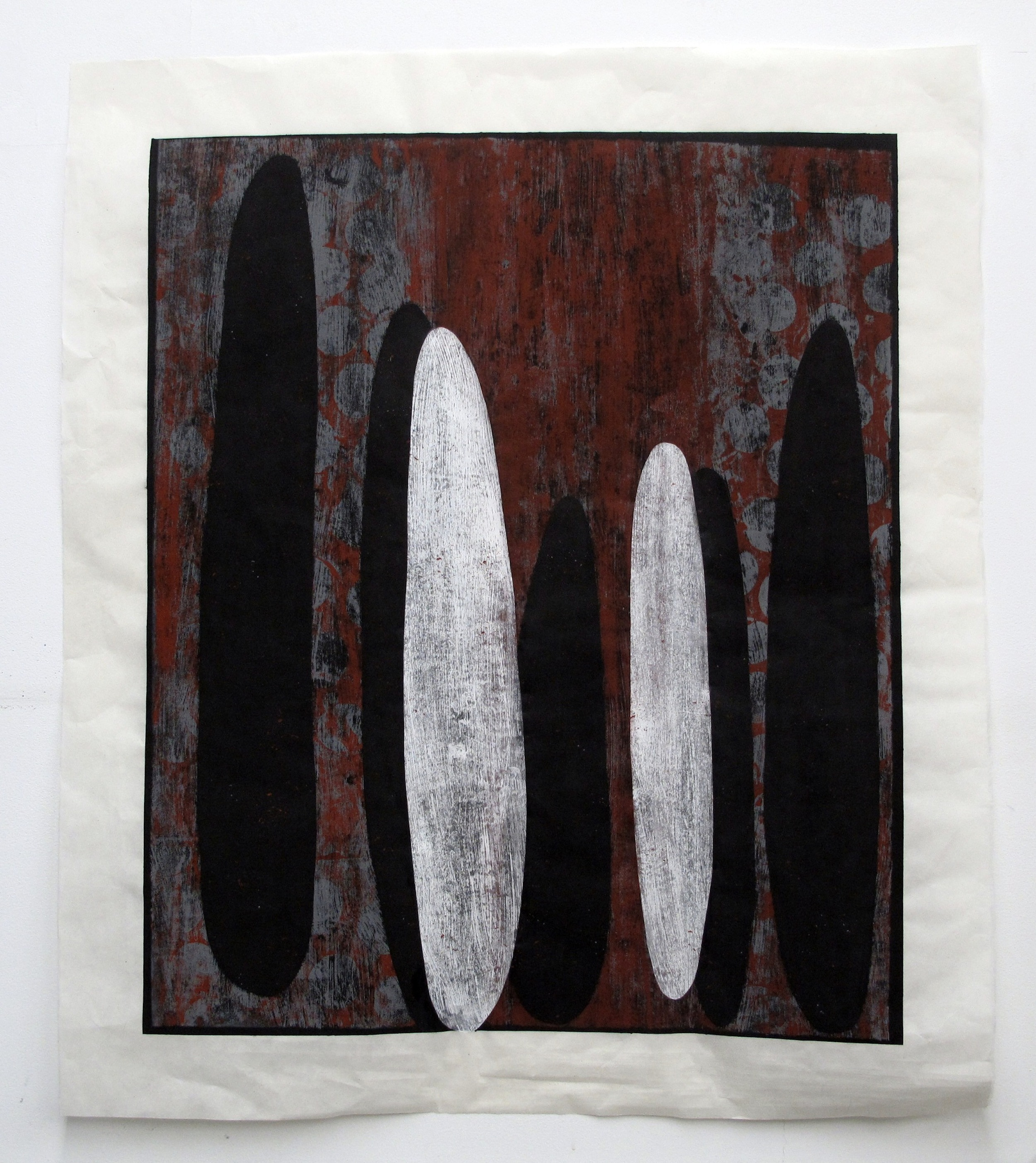 "Crimson 2  Kathy Erteman ET126 Casein and Gouache on Mulberry Paper 44"" x 37"""