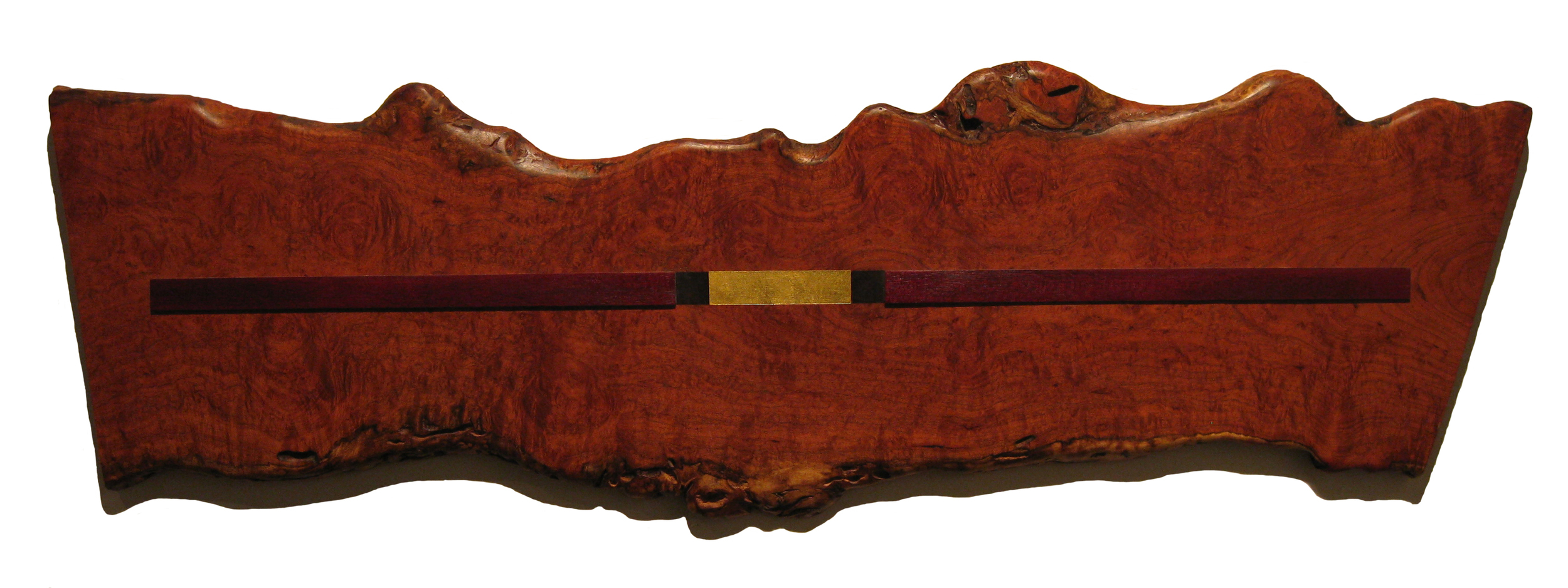 "Mesquite Gold  Jeffrey Brosk JB113 Mesquite & Purpleheart Wood, Black Stain, Gold Leaf 16"" x 51"" x 1"""