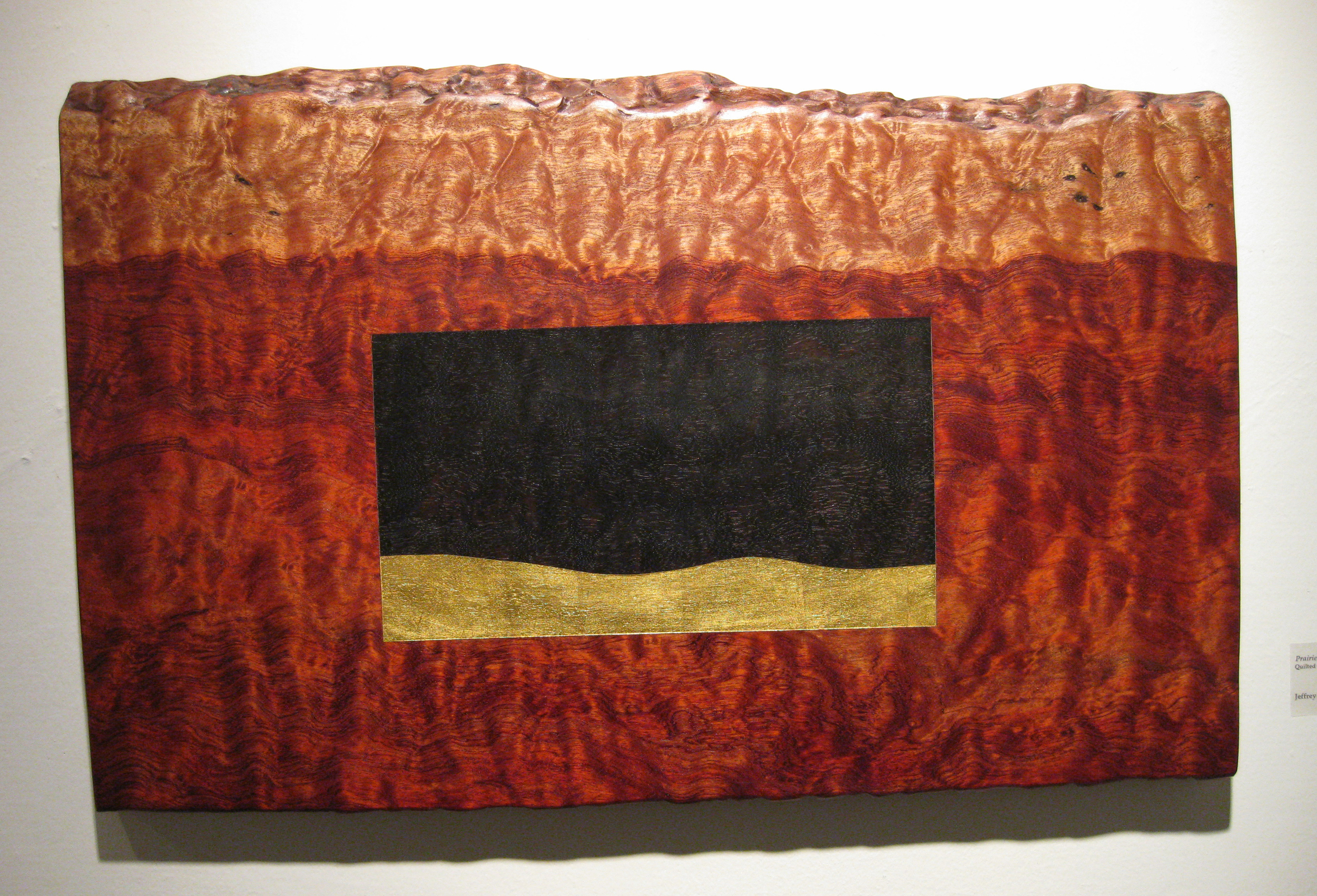 "Prairie Dream  Jeffrey Brosk JB106 Quilted Bubinga, Black Stain, Gold Leaf 19"" x 30"" x 1.5"""