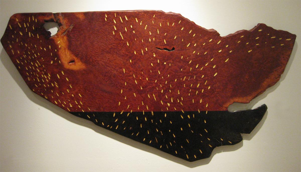 """Longview  Jeffrey Brosk JB123 Wood, Black Stain, Gold Leaf 24"""" x 45"""" x 1"""""""