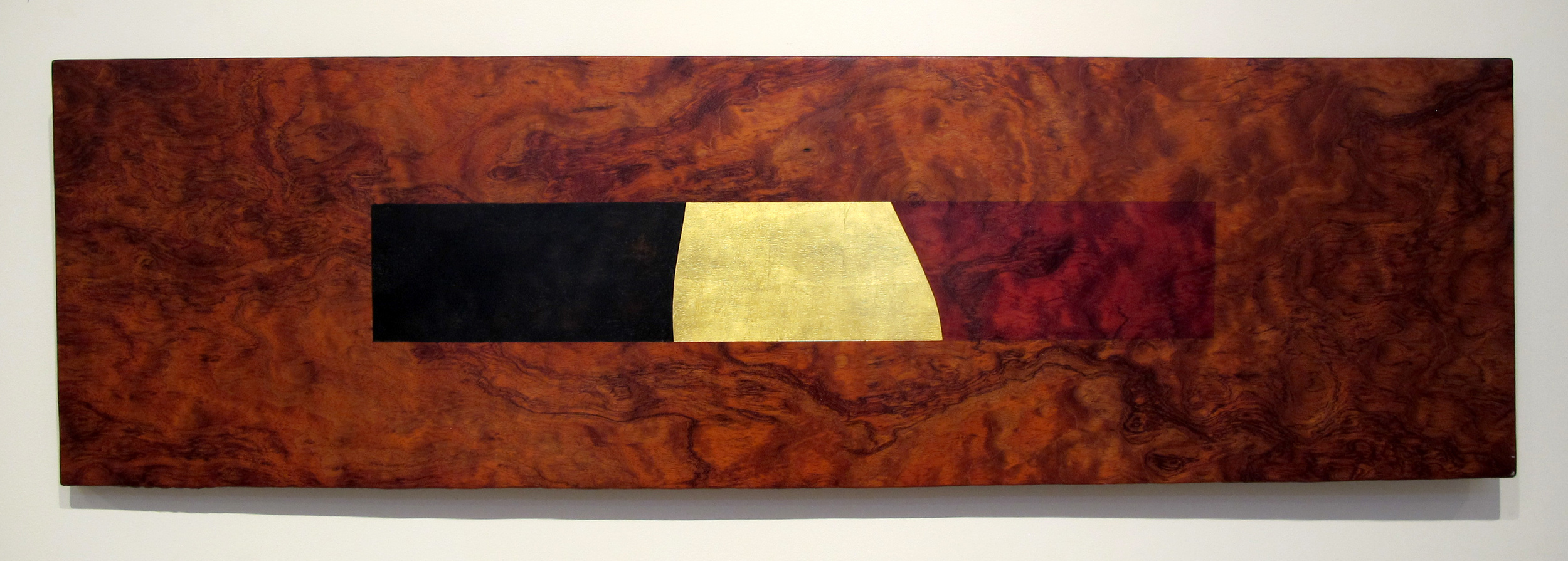 "River Crossing  Jeffrey Brosk JB149 Quilted Bubinga, Red & Black Stain, Gold Leaf 16"" x 55"" x 1.5"""