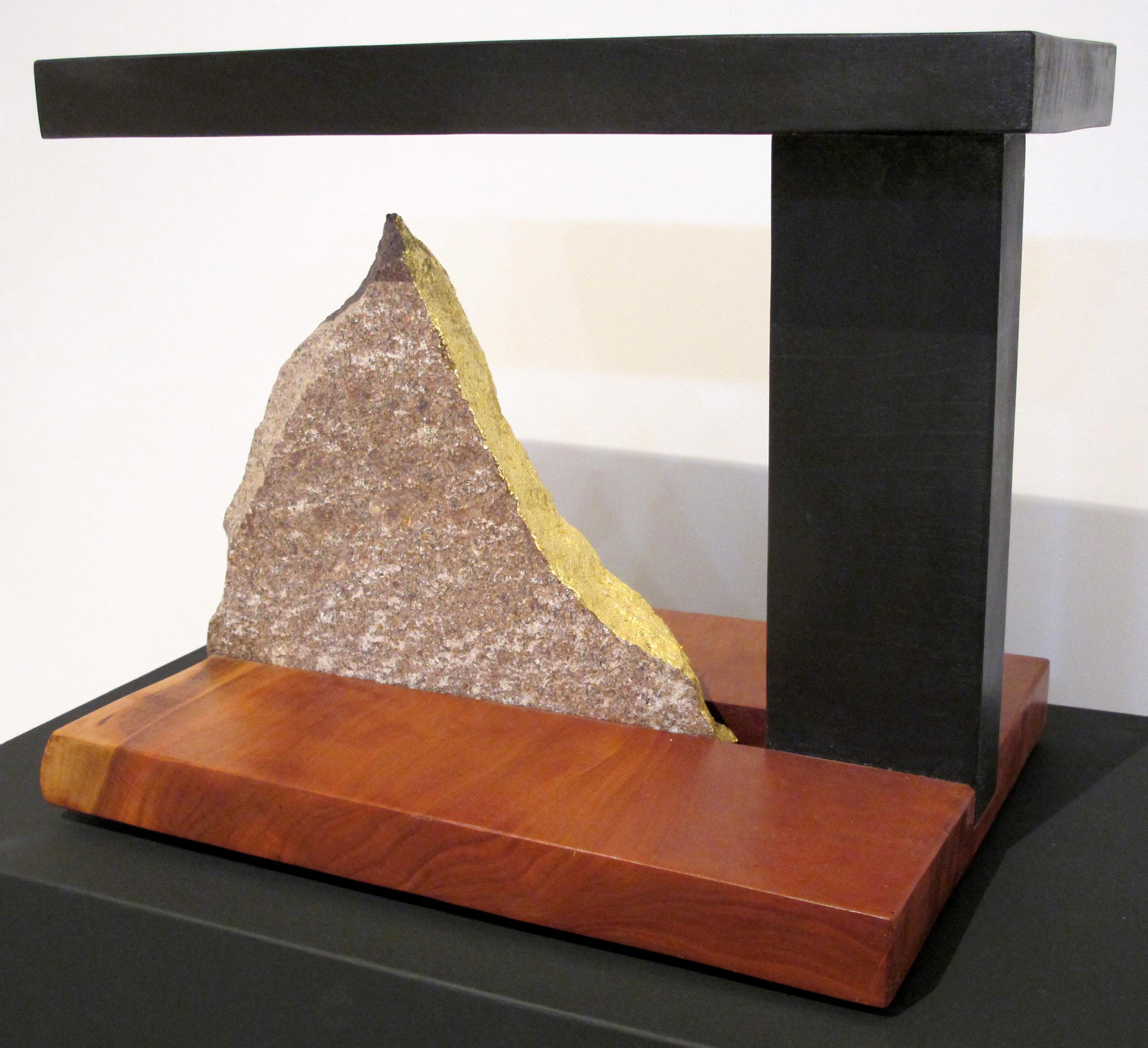 "Granite Gold  Jeffrey Brosk JB157 Granite, Cherry Wood, Black Stain 15"" x 12"" x 18"""