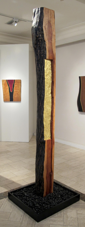 """Spirit Pole I  Jeffrey Brosk JB161 Cherry Wood, Black Stain, Gold Leaf 93"""" x 10"""" x 8"""""""
