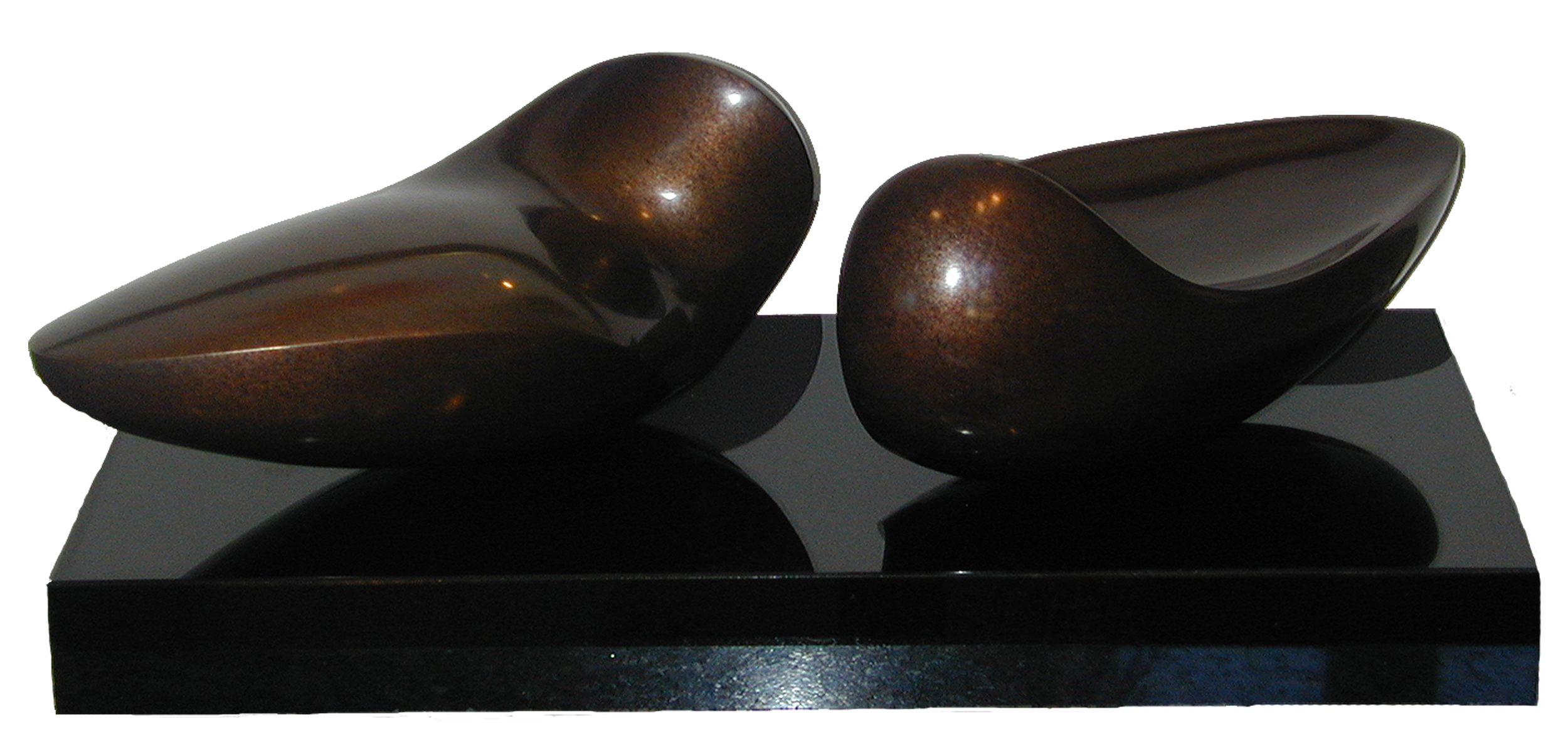 "Mandoria Piccola  Jack Zajac JZ140 Bronze with Brown Patina on Granite base 3.5"" x 14"" x 8"""