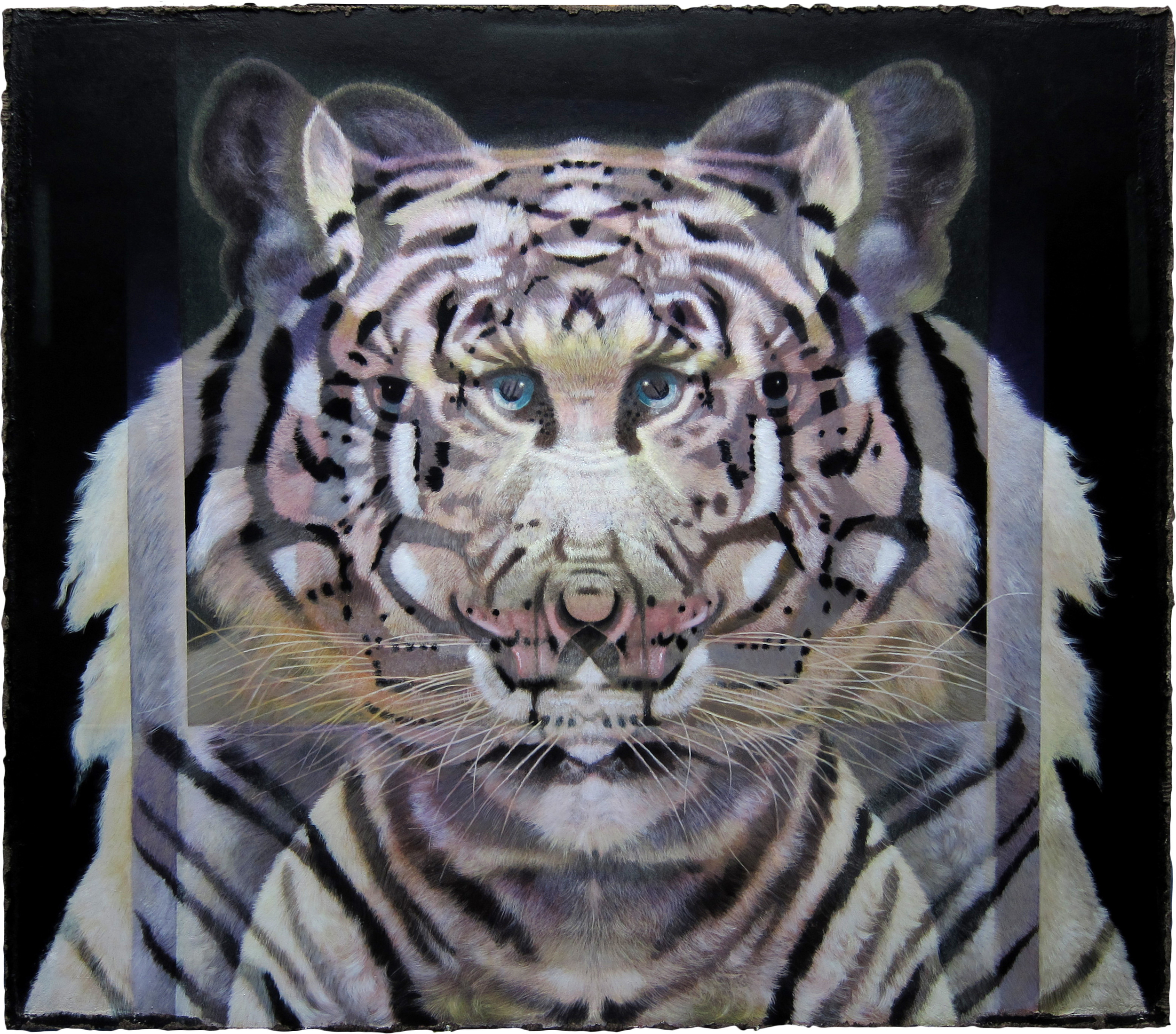 "Qbistic Tiger  Eric Peters ES204 Oil and Watercolor on Paper Hybrid 72"" x 82.5"""