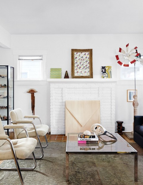 The Russell's airy living room with mid-century furniture culled from auctions, yard sales and antiquing.