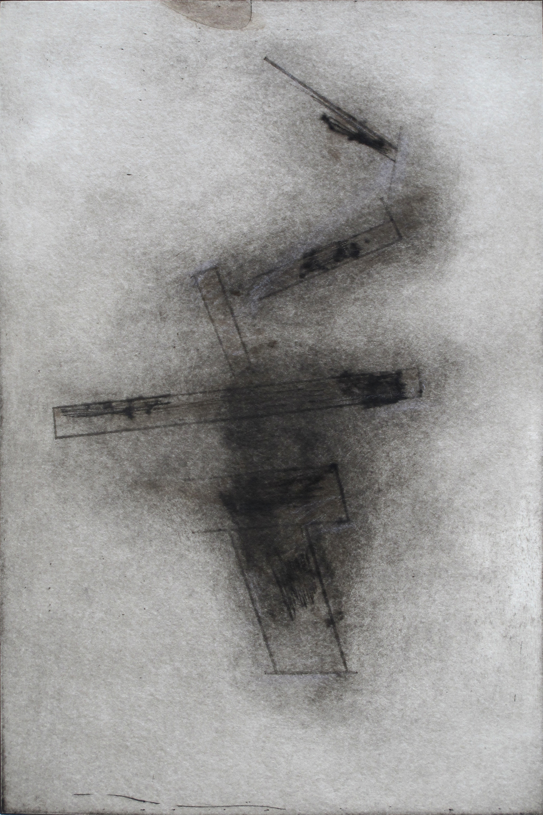 "Fallen Stones  Stephen Hazel SH 169 Drypoint Mezzotint, Hand-colored on Deckled Paper 17"" x 21"""