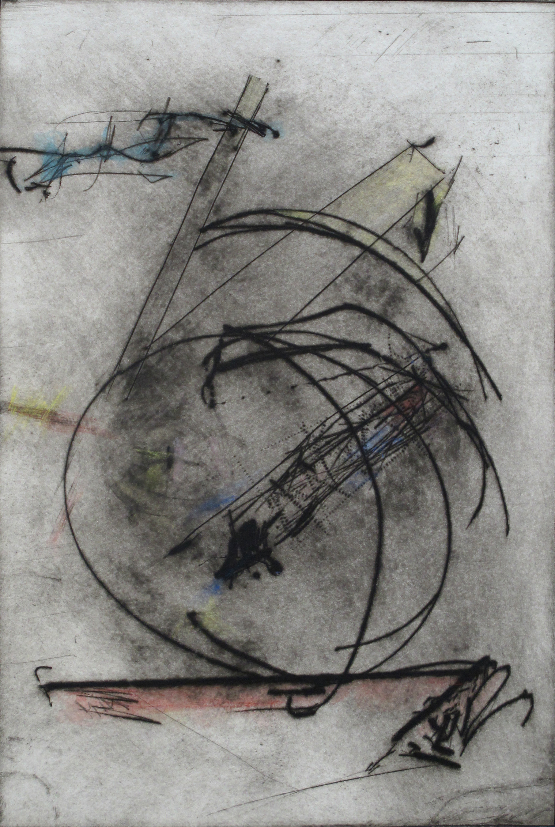 """A Clown is in the Garden  Stephen Hazel SH 170 Drypoint Mezzotint, Hand-colored on Deckled Paper 21"""" x 17"""""""