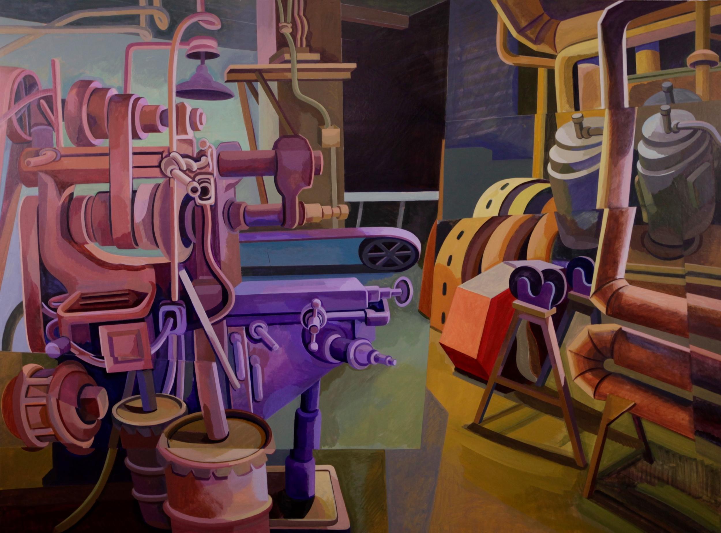 "Mill 12,  Acrylic on Canvas, 36"" x 48"""