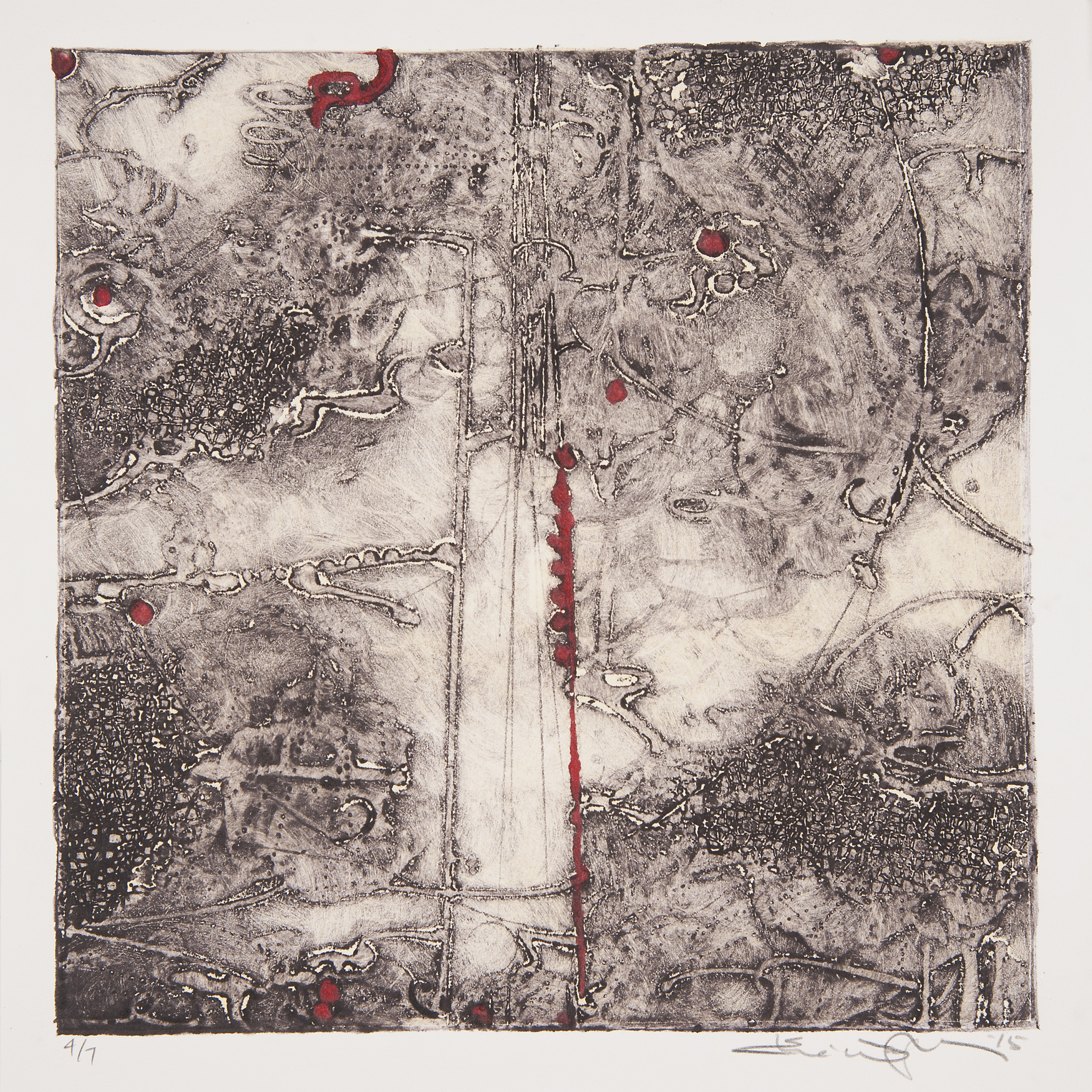 "Lost Map 10  Elise Wagner EW 111 Encaustic Collagraph Monoprint on Paper 10"" x 10"""