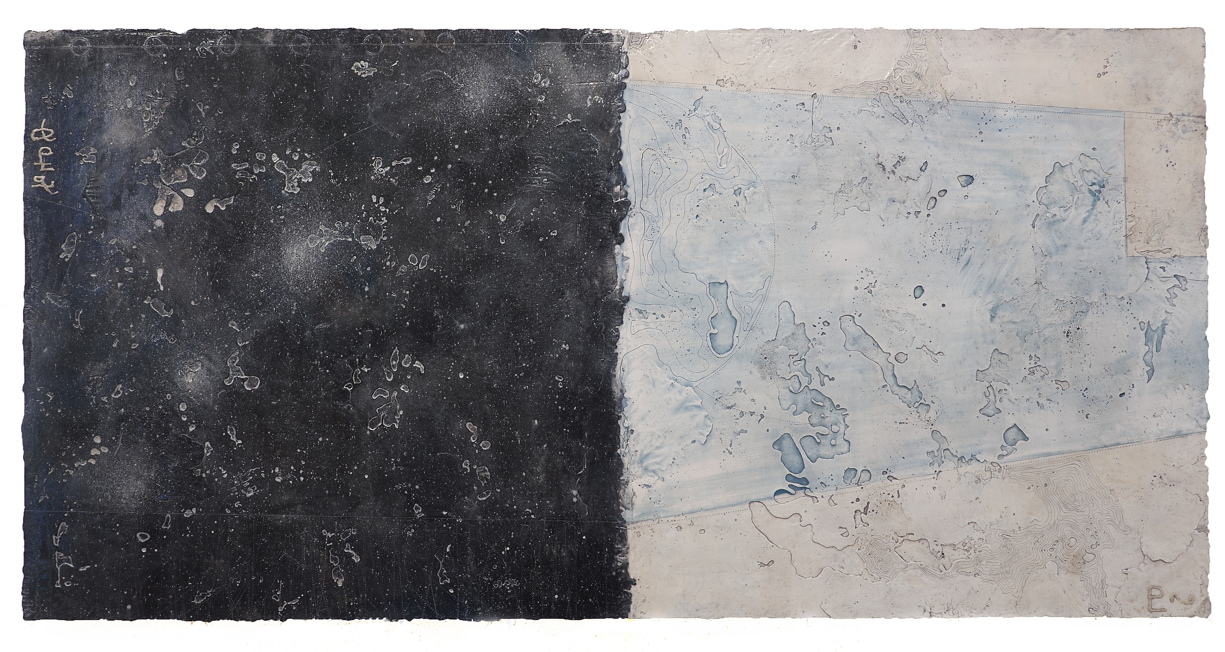 "Pluto Atlas I  Elise Wagner EW 104 Encaustic and Oil on Panel 24"" x 48"""