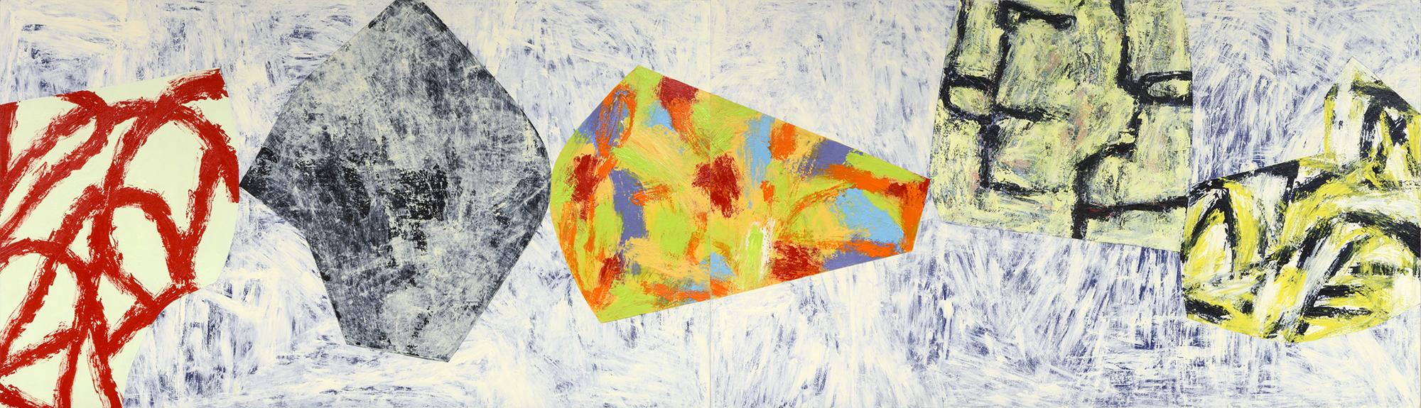"Modern Dance / 15   Jerrold Burchman  BU286  Acrylic on Wood Panel  24"" x 84"""