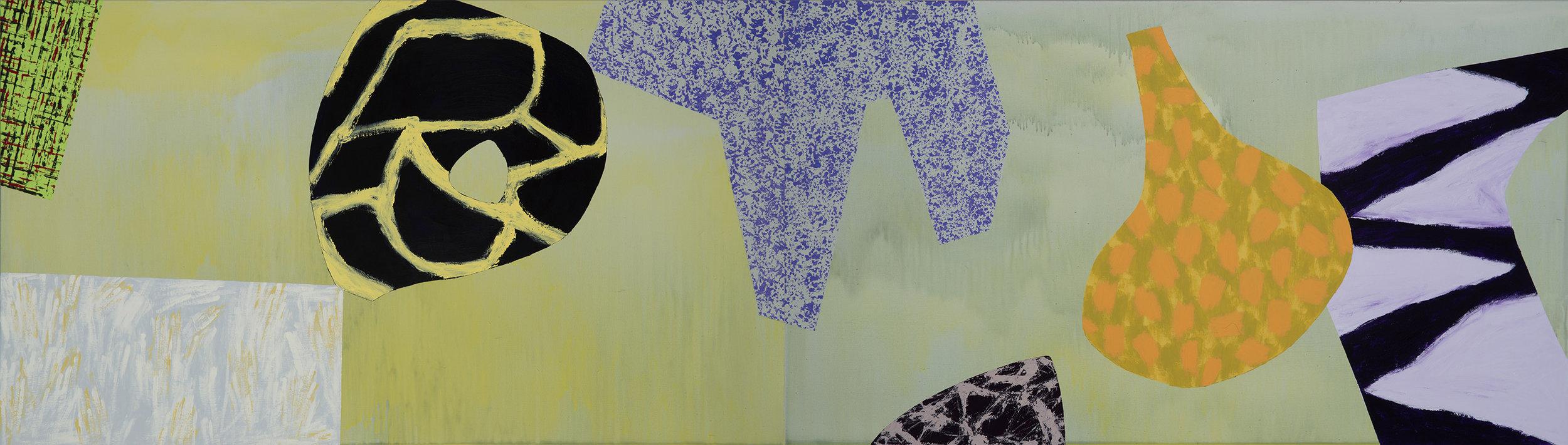 "Modern Dance / 7   Jerrold Burchman  BU289  Acrylic on Wood Panel  24"" x 48"""