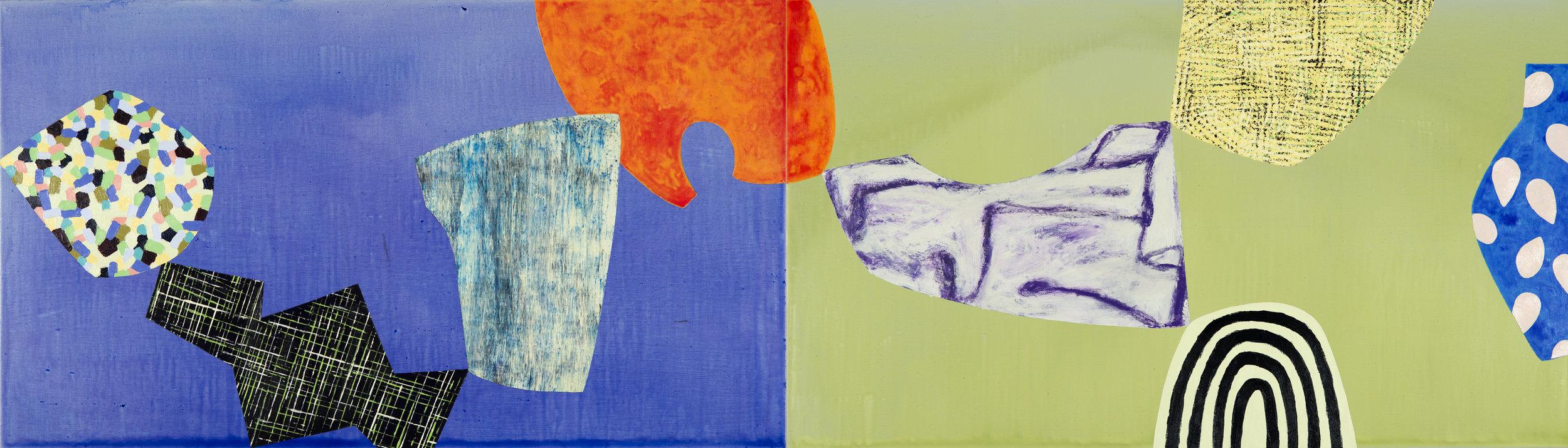 "Modern Dance / 3   Jerrold Burchman  BU290  Acrylic on Wooden Panel  24"" x 48"""