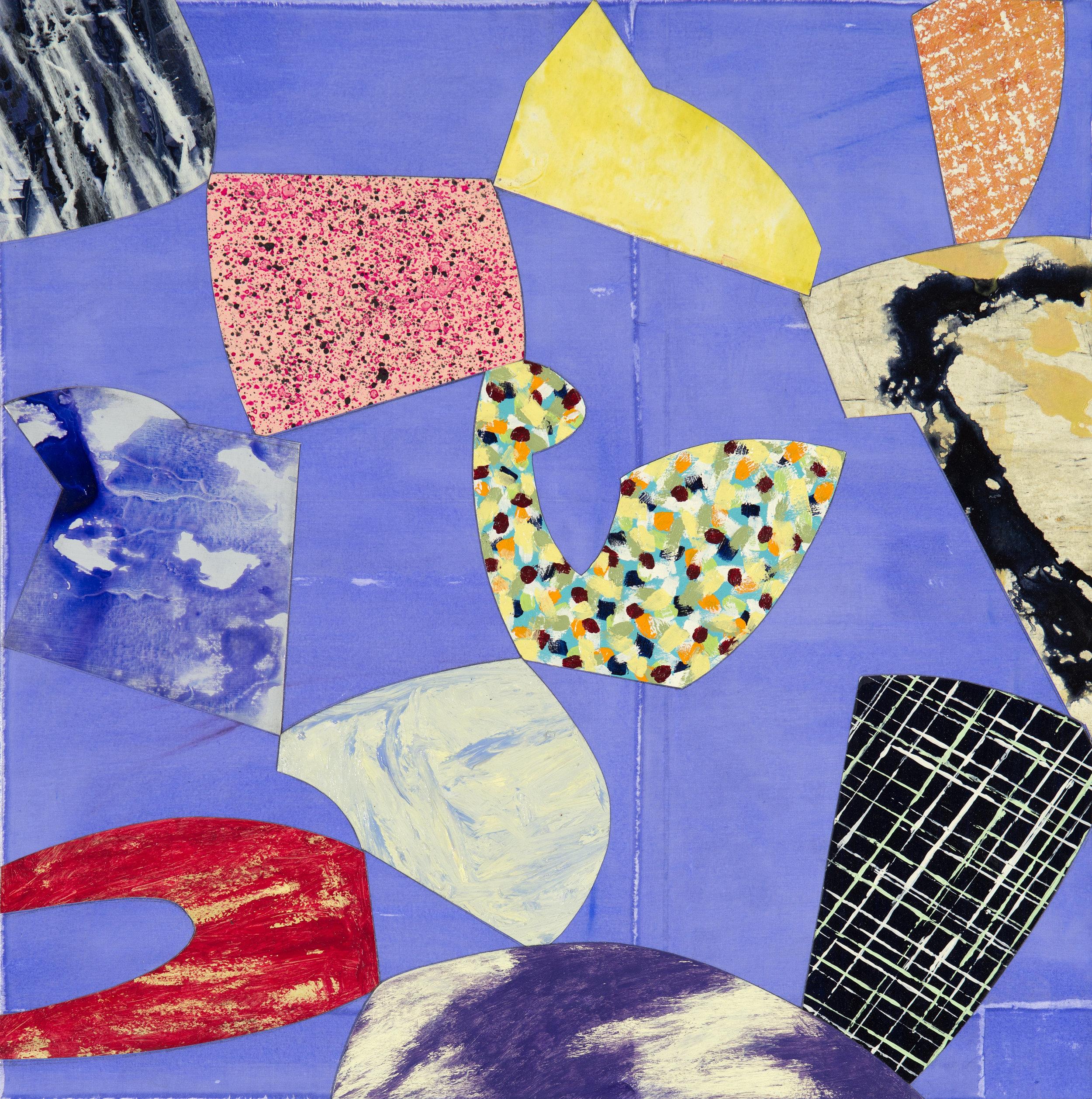 "Modern Dance/Pina   Jerrold Burchman  BU295  Mixed Media Collage on Canvas  20"" x 20"""