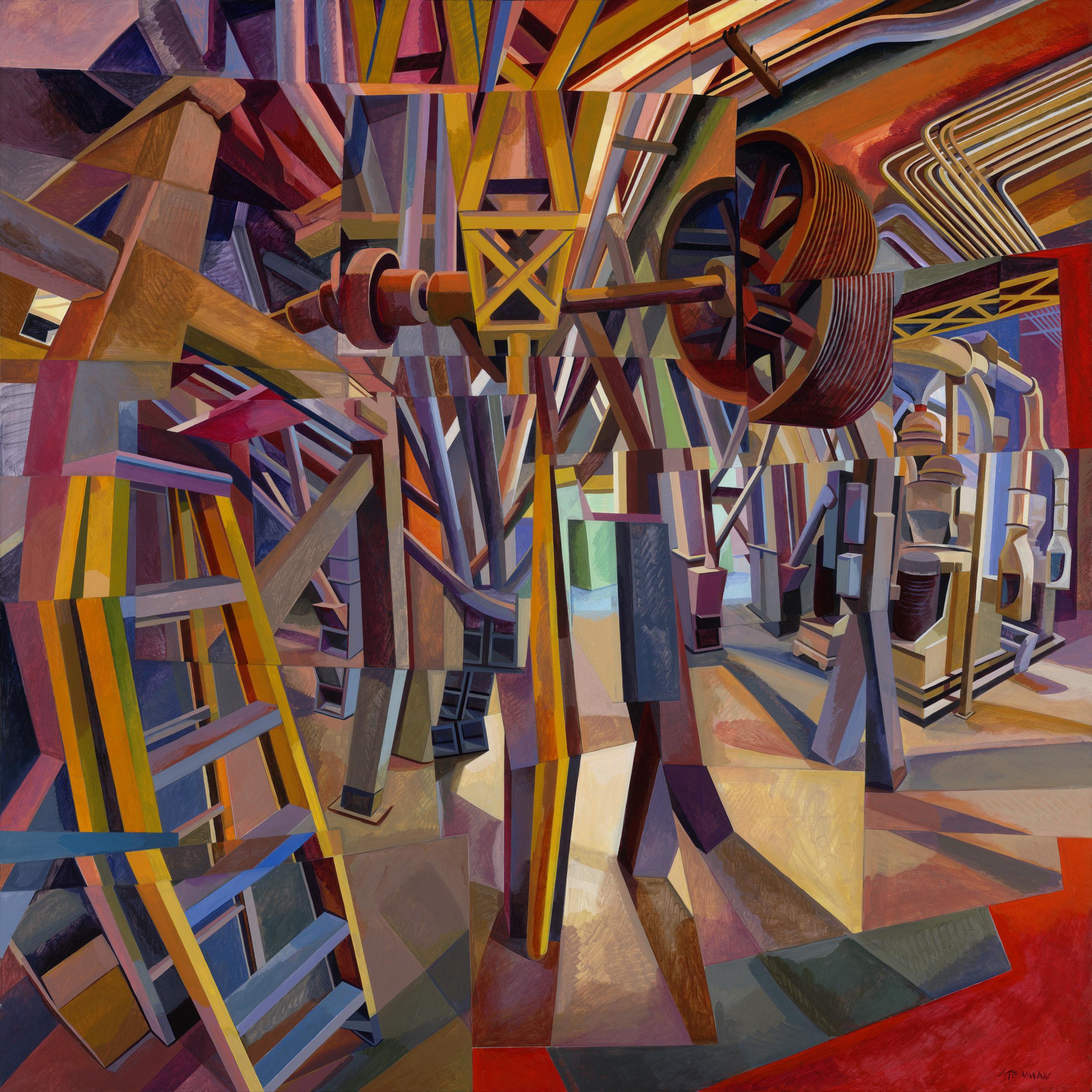 "Mill 2  Joan Steinman ST961 Acrylic on Canvas 60"" x 60"""