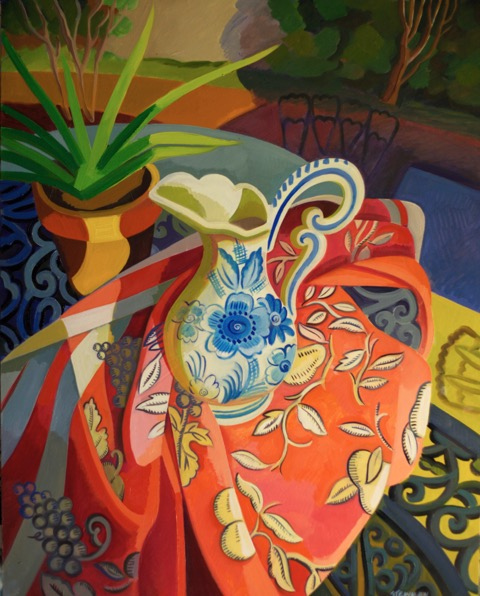 """Blue and White Pitcher on Red Cloth  Joan Steinman ST935 Oil on Canvas 30"""" x 24"""""""