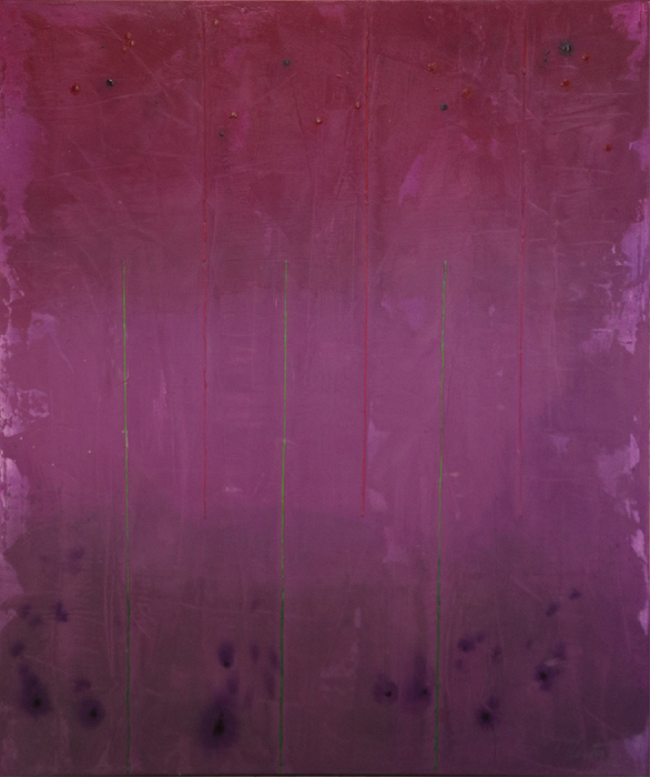 "Untitled (Purple)      Robert Rector RE4734 Mixed Media on Canvas 36"" x 30"""