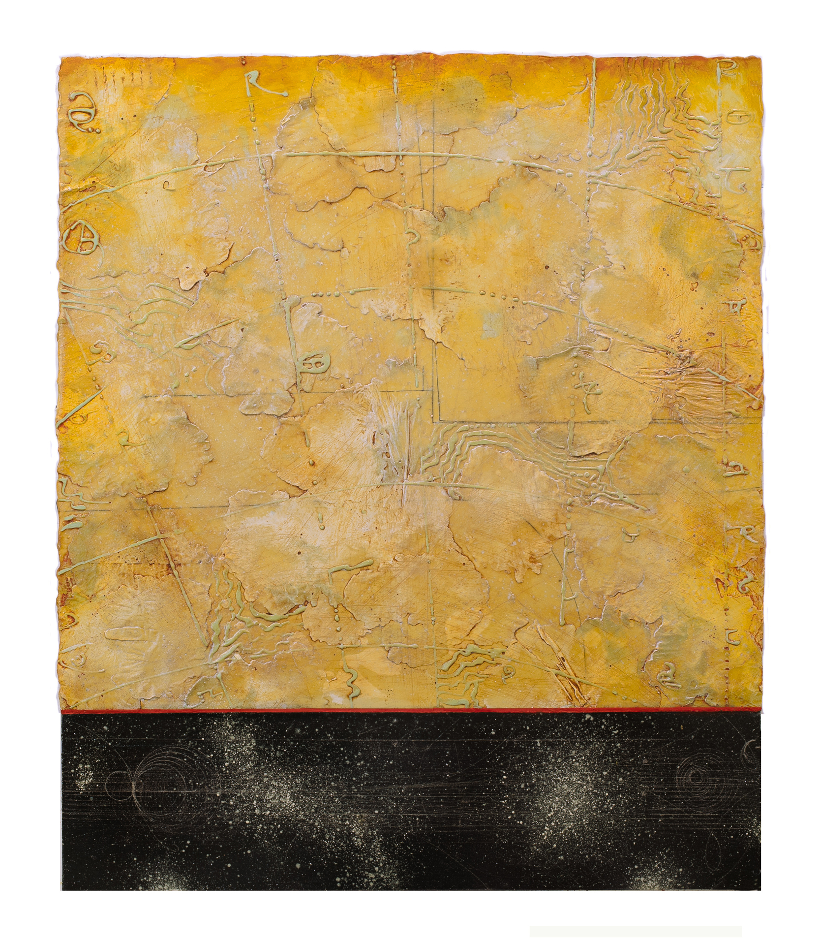 "Opposing Cartography 5  Elise Wagner EW 115 Encaustic and Oil on Panel 30"" x 23"""