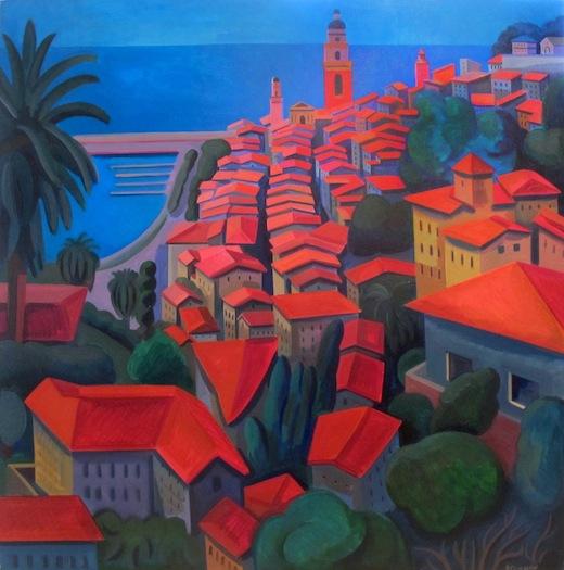 "By the Sea  Joan Steinman ST772 Acrylic on Canvas 40"" x 40"""