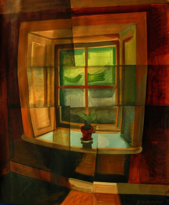 "The Window III  Joan Steinman ST821 Acrylic on Paper 17"" x 14"""