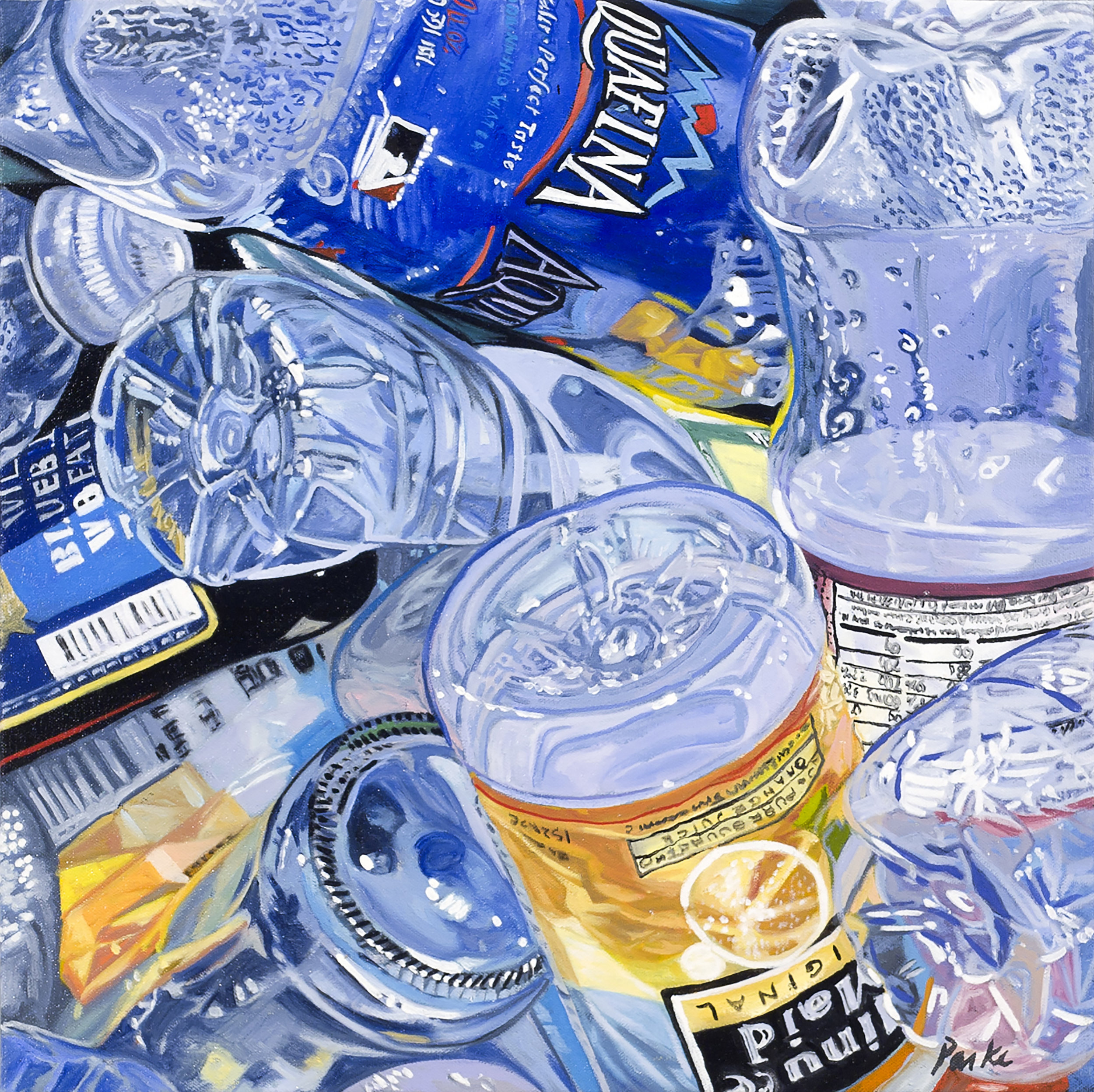 """Bottle Study  Leslie Parke LP195 Oil on Canvas 16"""" x 16"""""""