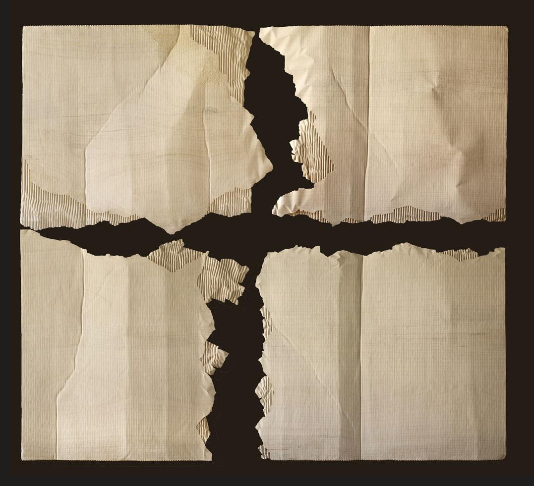 """Carton déchiré en quatre  Christian Renonciat Ayous Wood 82"""" x 91.5"""""""