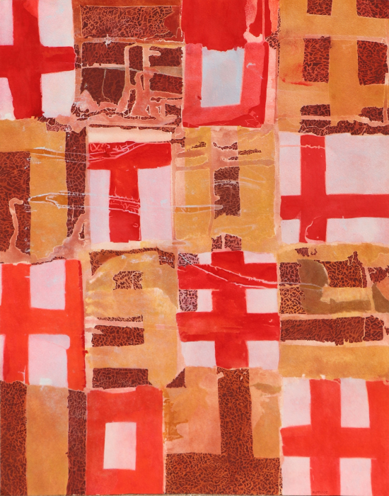 "Untitled (Brown, Beige, Red)  Davey Eldridge DY110 Mixed Media on Paper 28.5"" x 21.5"""
