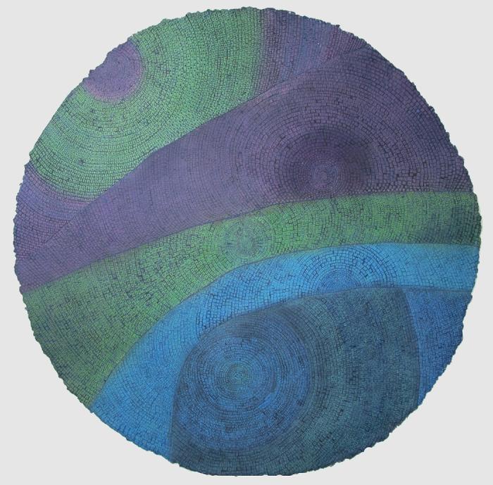 "Untitled  Davey Eldridge DY185 Watercolor on Paper 36"" Diameter"