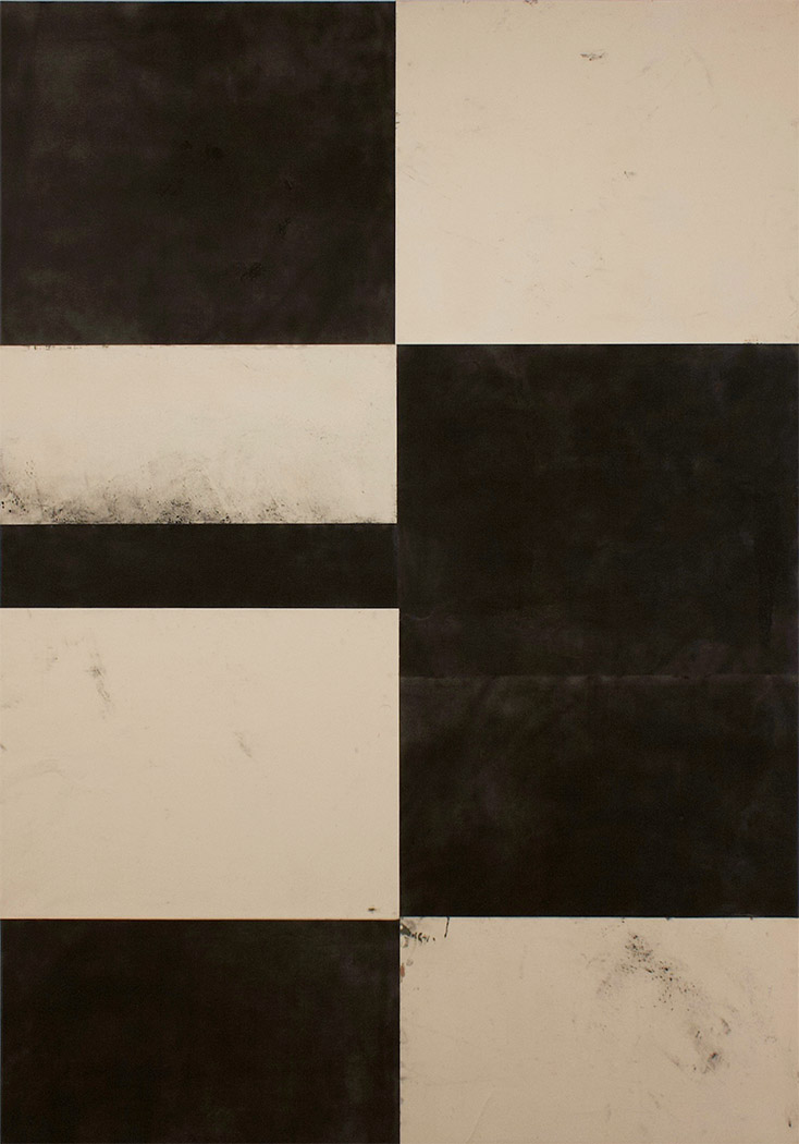 """Telemark XLI  Laura Duerwald LAD 136 Graphite, Gouache, Acrylic, Paper and Cold Wax on Canvas 60"""" x 42"""""""