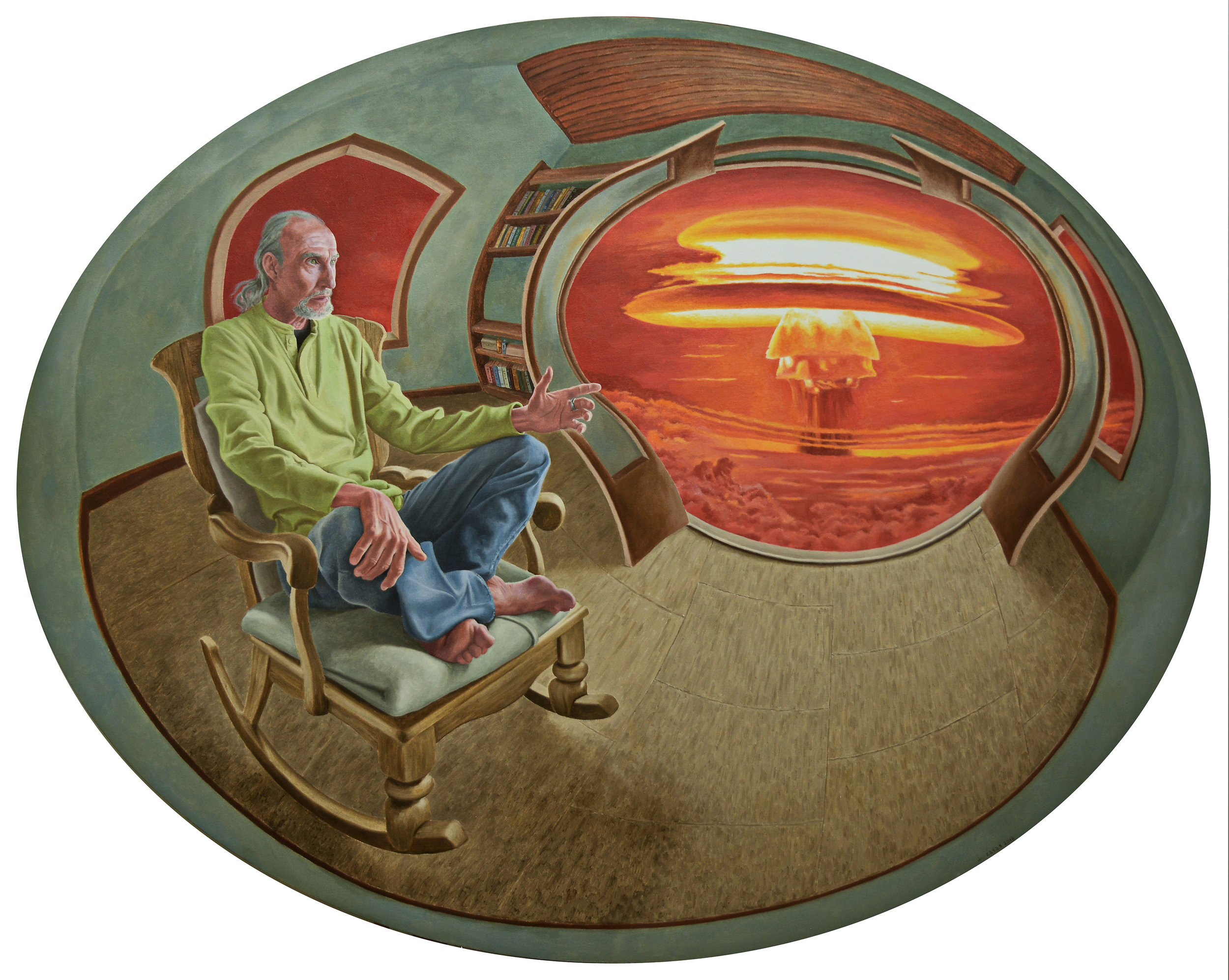 "Will We…?  Fernando Casas CA 390 Oil on Round Canvas 70"" Diameter"